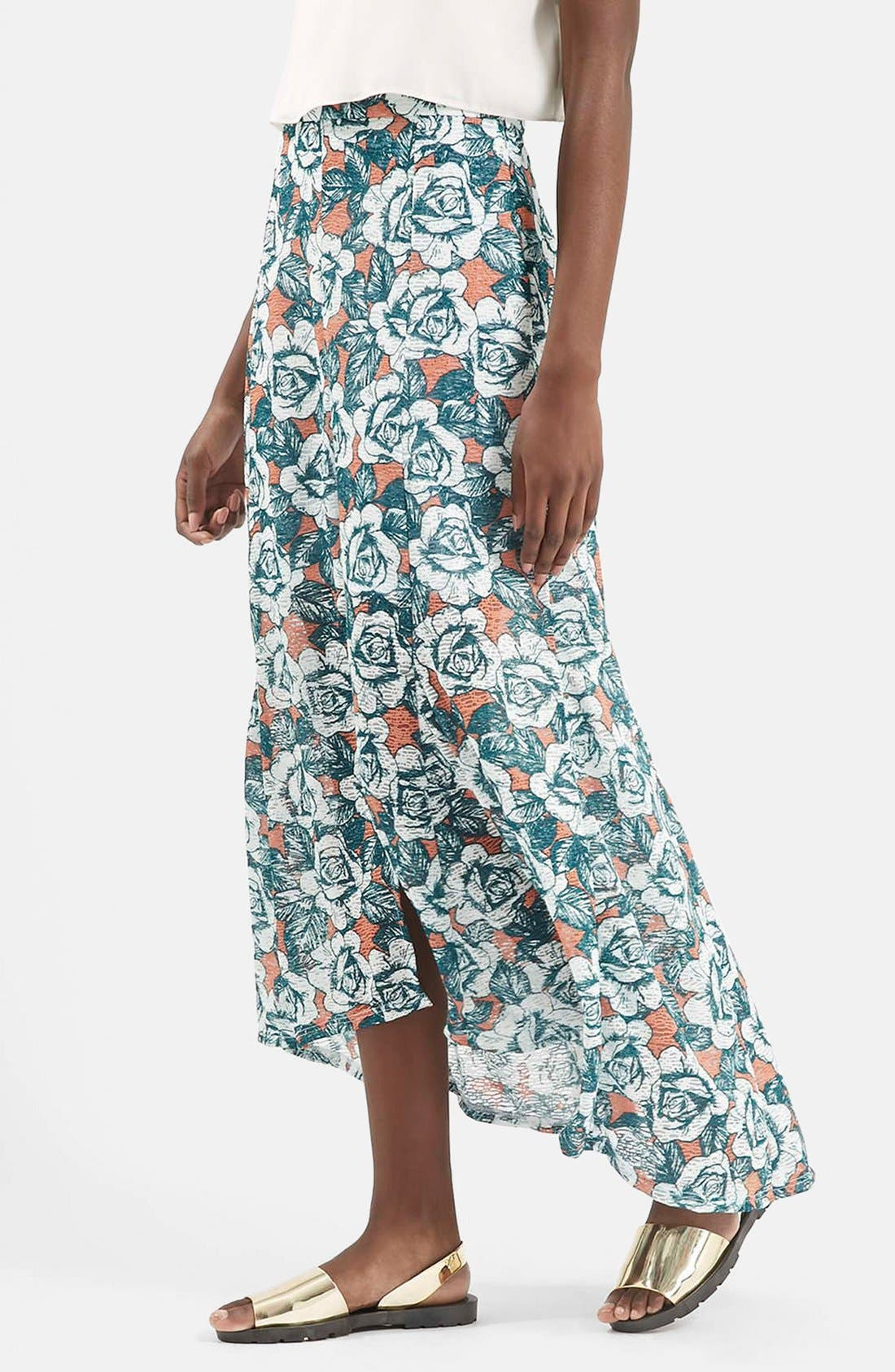 Alternate Image 1 Selected - Topshop Floral Print Split Front Maxi Skirt