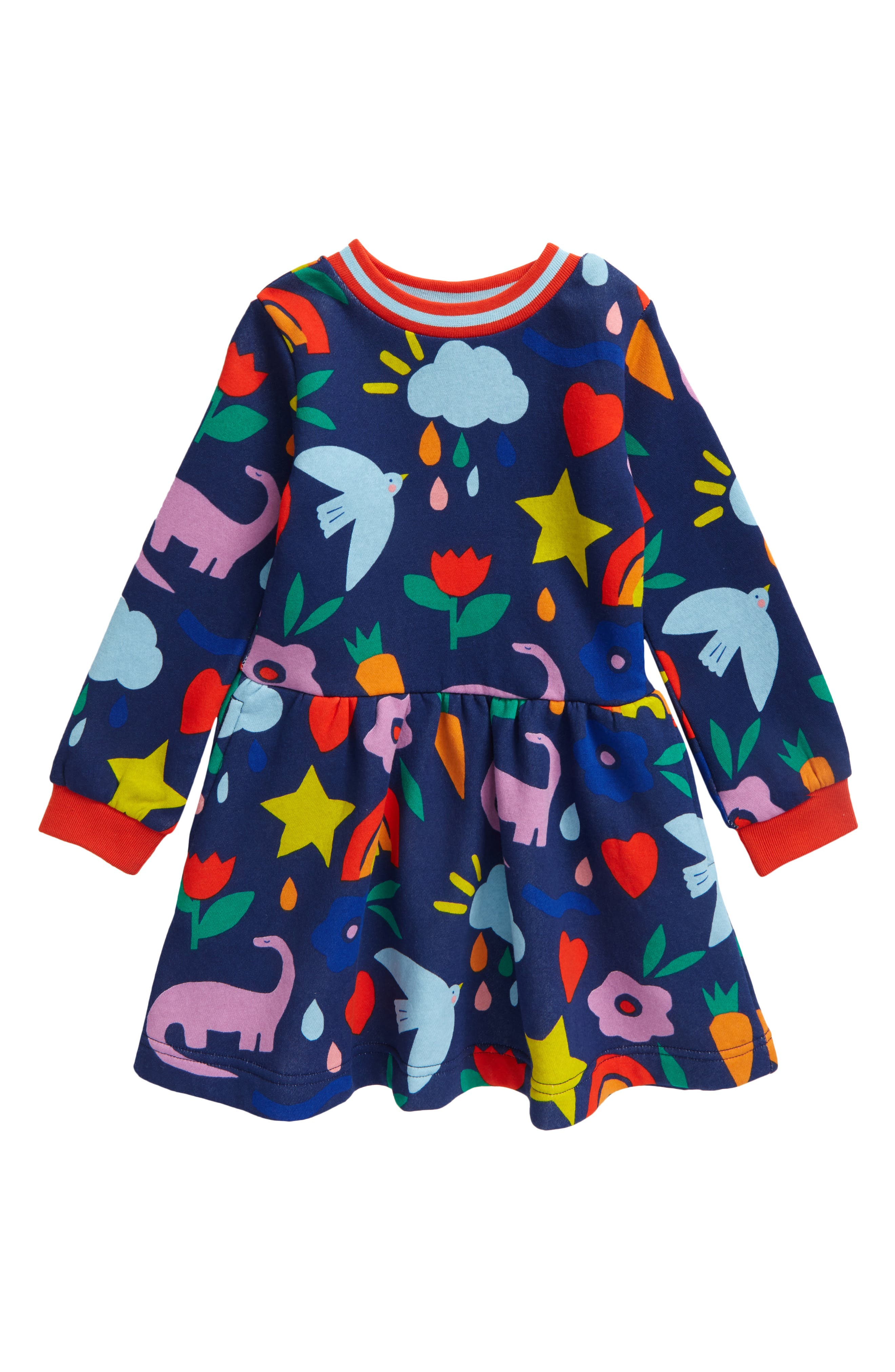 Mini Boden GIRLS Jersey Swing LONG SLEEVE FOREST ANIMAL Dress G0082 BRAND NEW