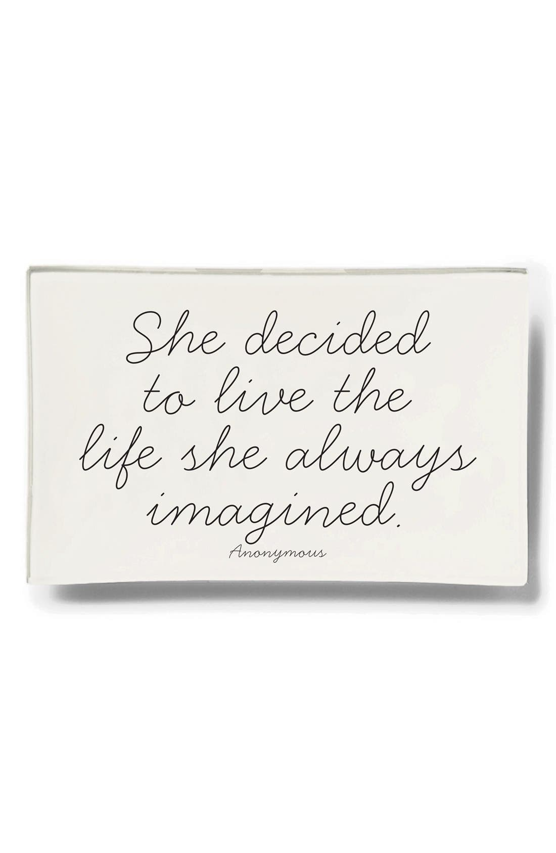 'The Life She Always Imagined' Bent Glass Tray,                         Main,                         color, Ivory