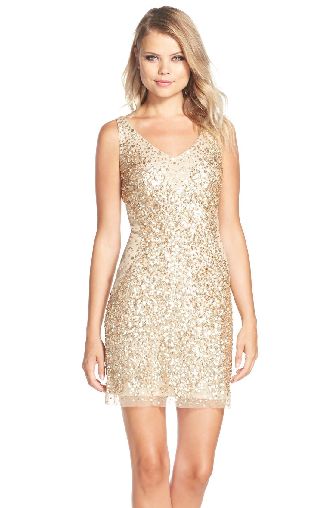 Main Image - Adrianna Papell Sequin Tulle Sheath Dress