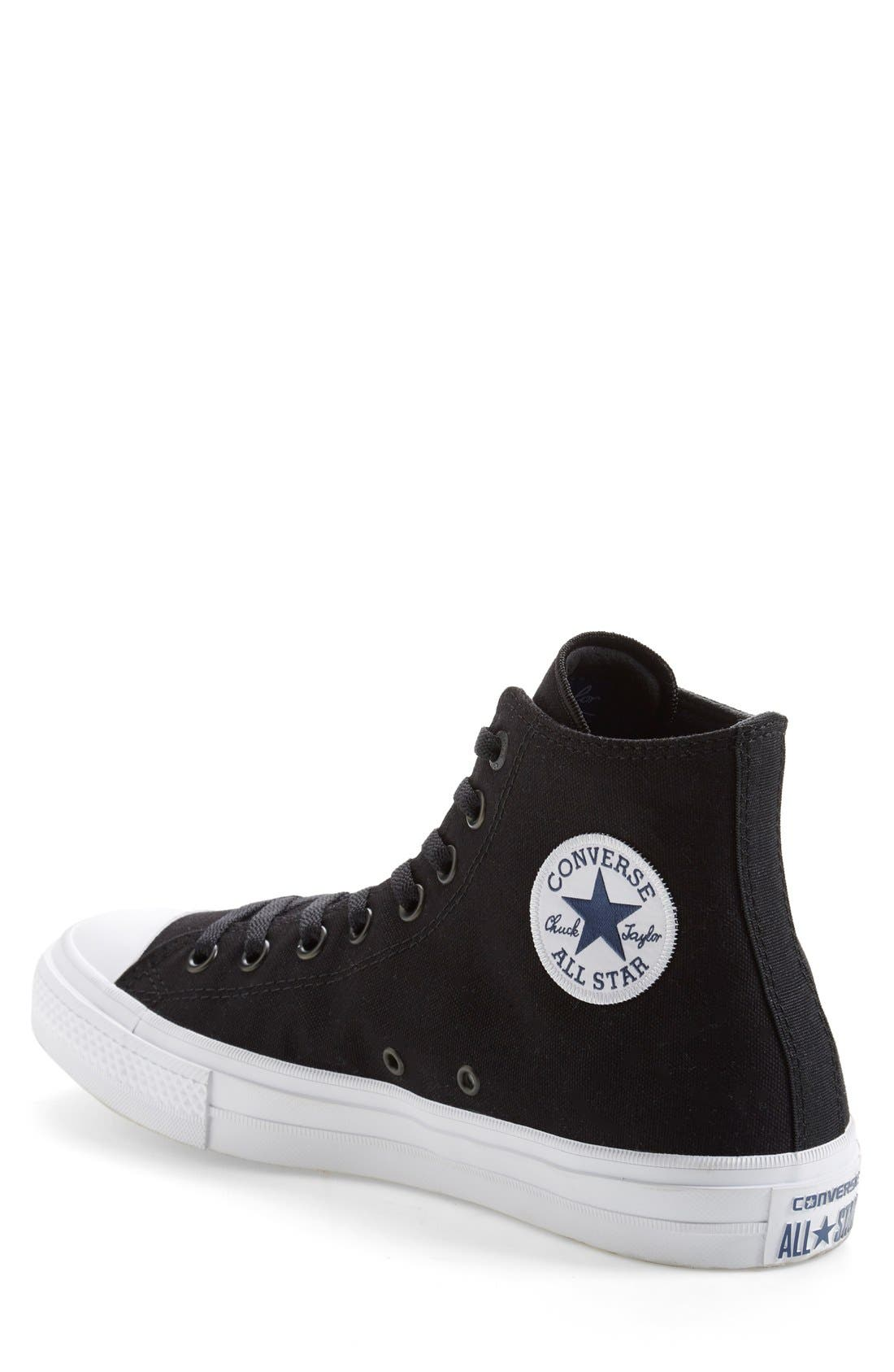 Chuck Taylor<sup>®</sup> All Star<sup>®</sup> Chuck II High Top Sneaker,                             Alternate thumbnail 4, color,                             Black/ White/ Navy Canvas