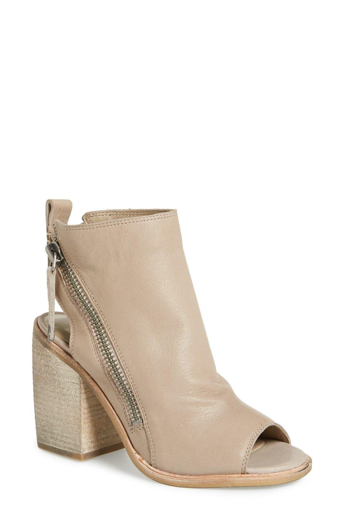 'Port' Open Toe Bootie,                         Main,                         color, Almond Leather