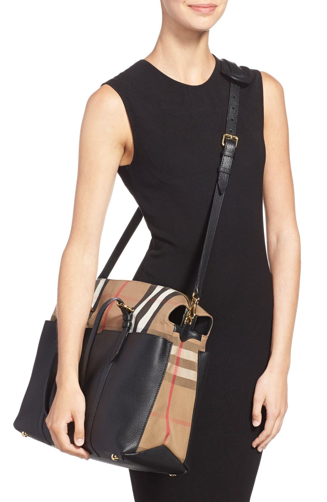 'Mason - House Check' Diaper Bag,                             Alternate thumbnail 2, color,                             Black