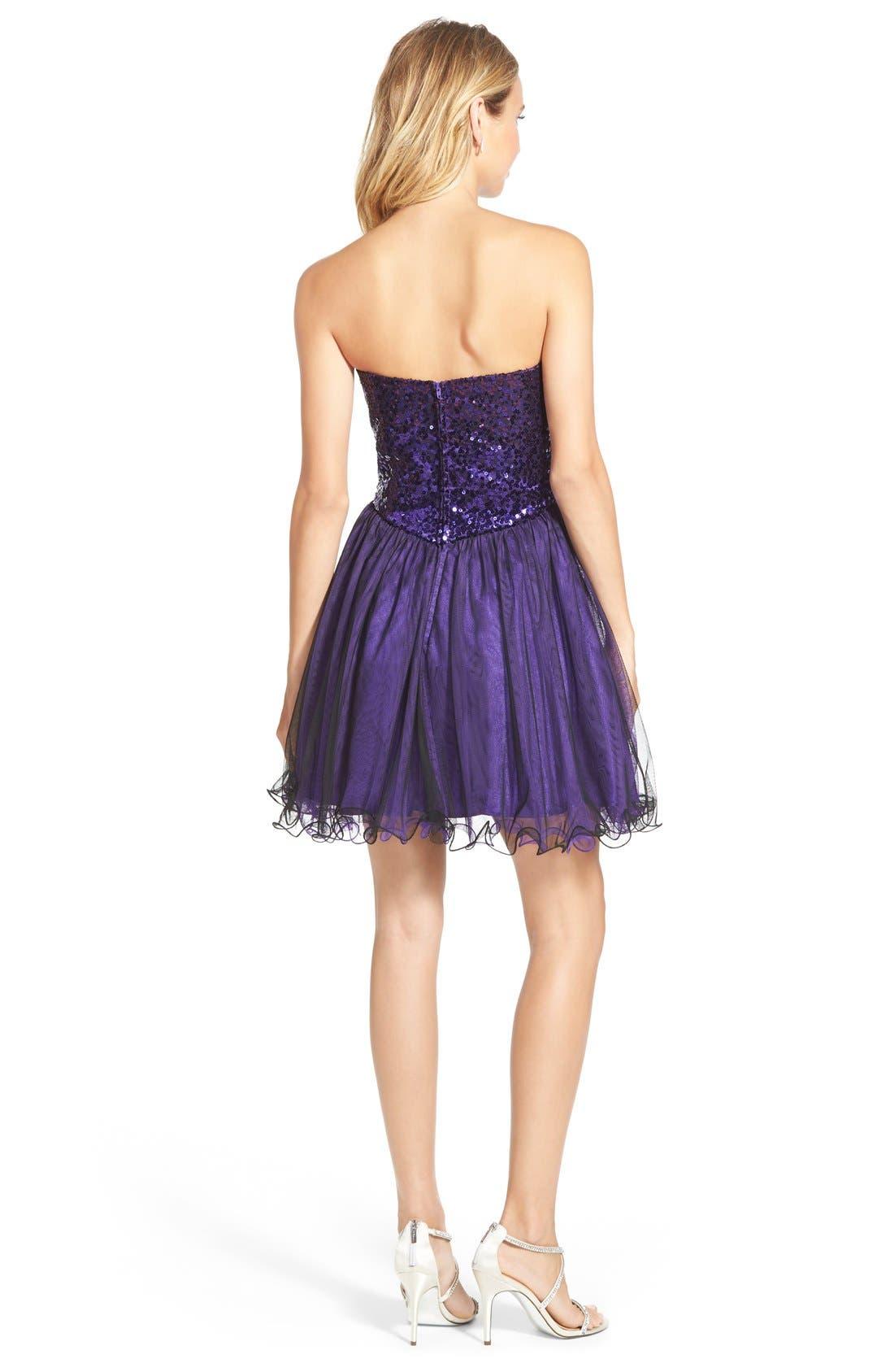 Alternate Image 2  - Steppin Out Sequin Bodice Strapless Skater Dress
