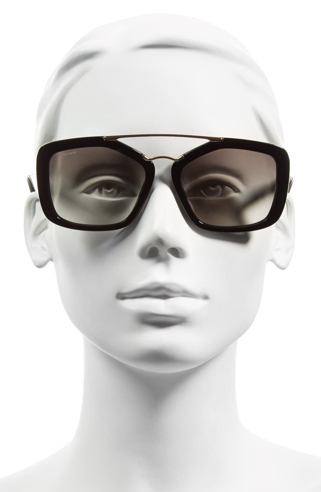 56mm Angular Sunglasses,                             Alternate thumbnail 2, color,                             Black