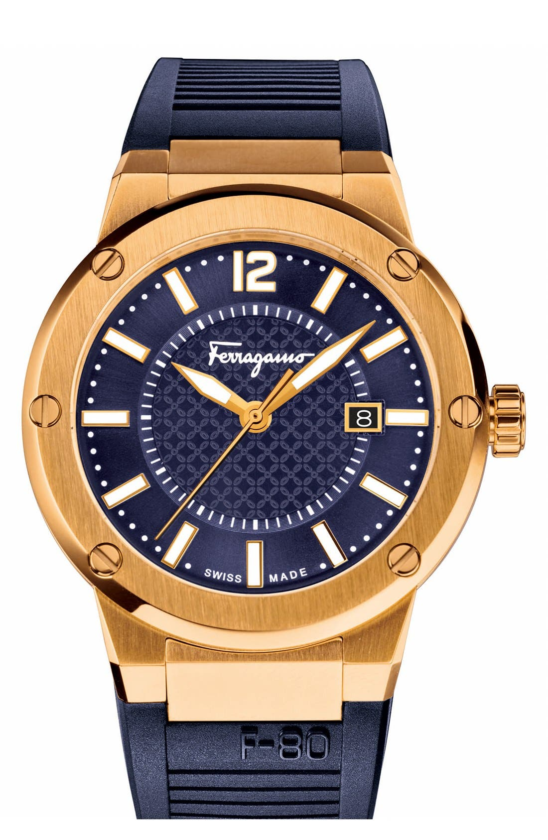 'F-80' Rubber Strap Watch, 44mm,                             Main thumbnail 1, color,                             Blue/ Gold