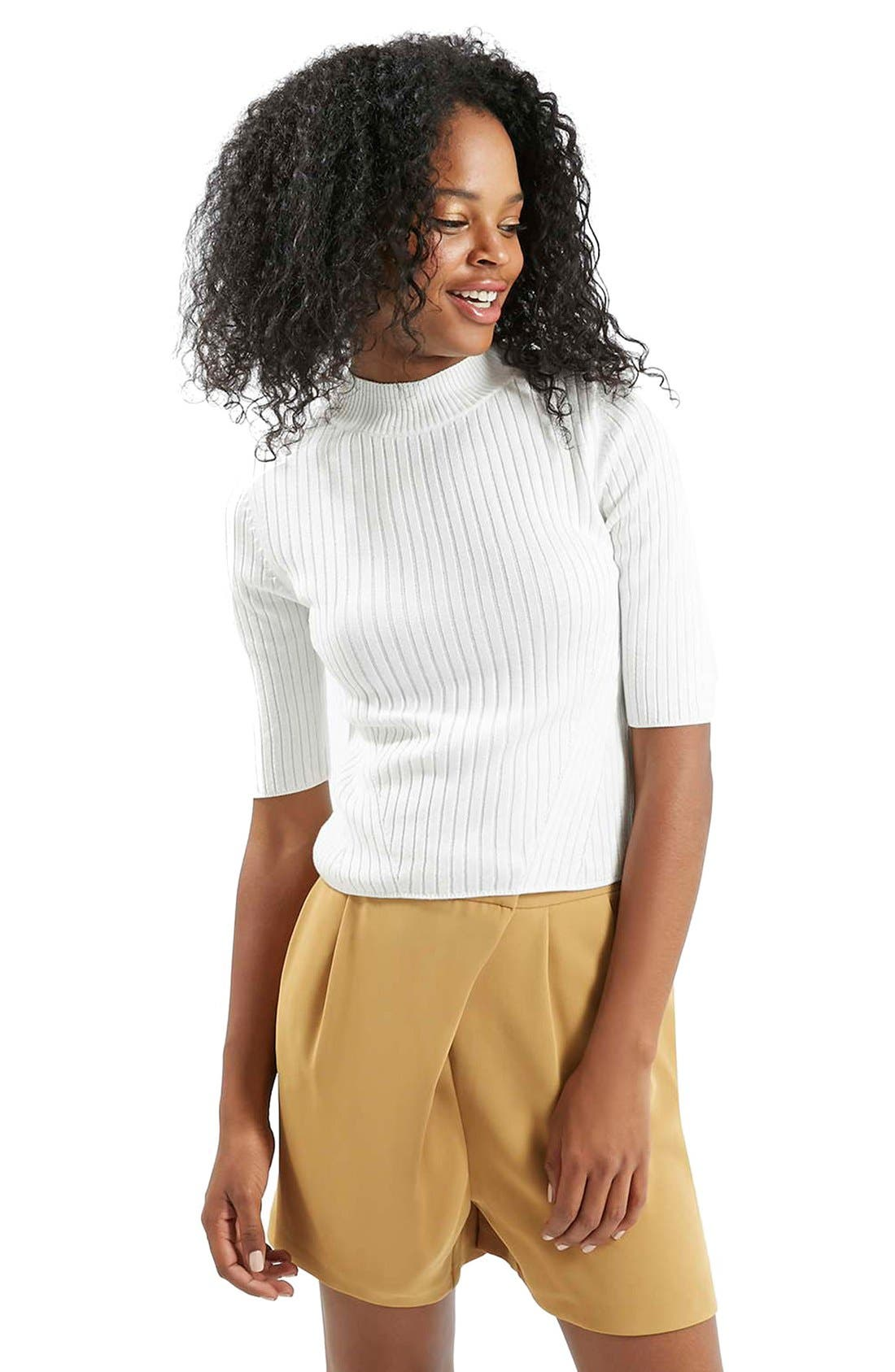Alternate Image 1 Selected - Topshop Funnel Neck Ribbed Top