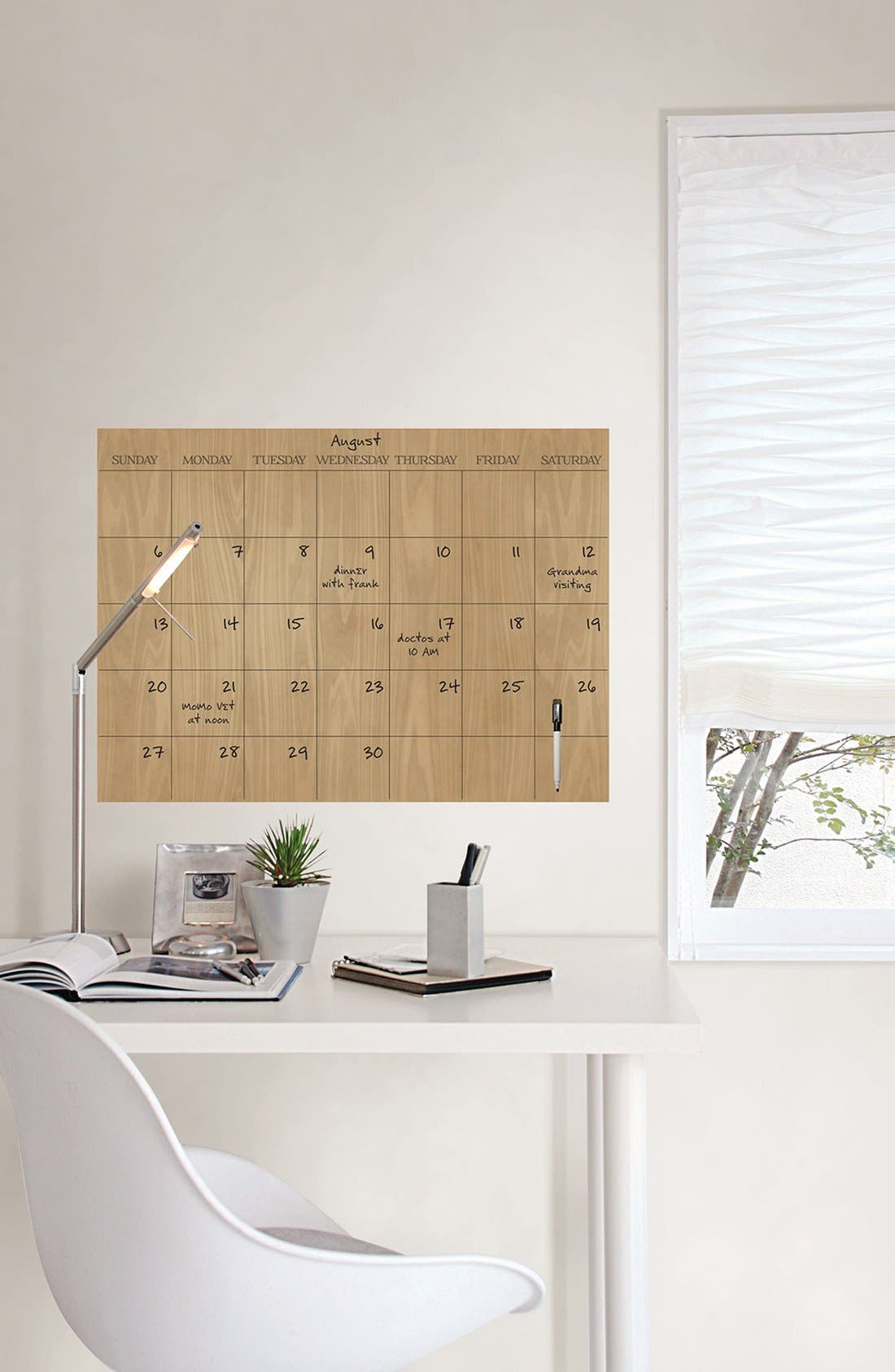'Hardwood' Monthly Dry Erase Calendar,                             Alternate thumbnail 2, color,                             Brown