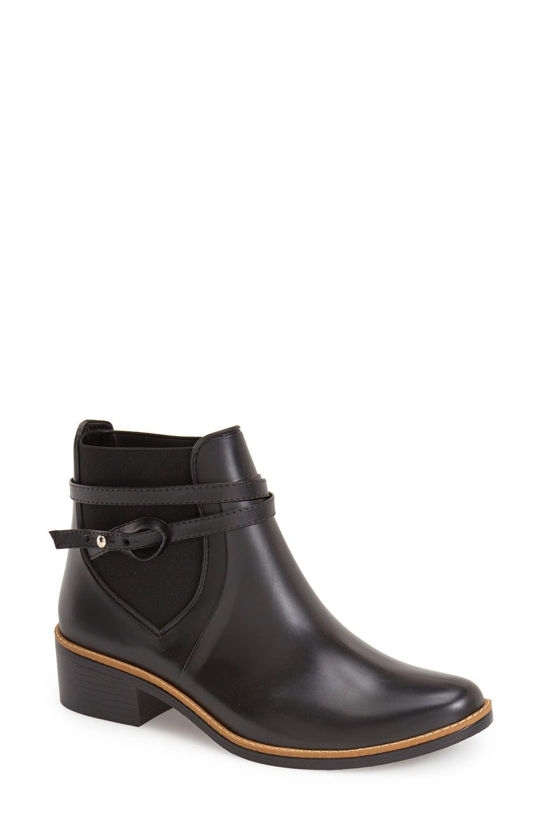 Bernardo Peony Short Waterproof Rain Boot,                             Main thumbnail 1, color,                             Black