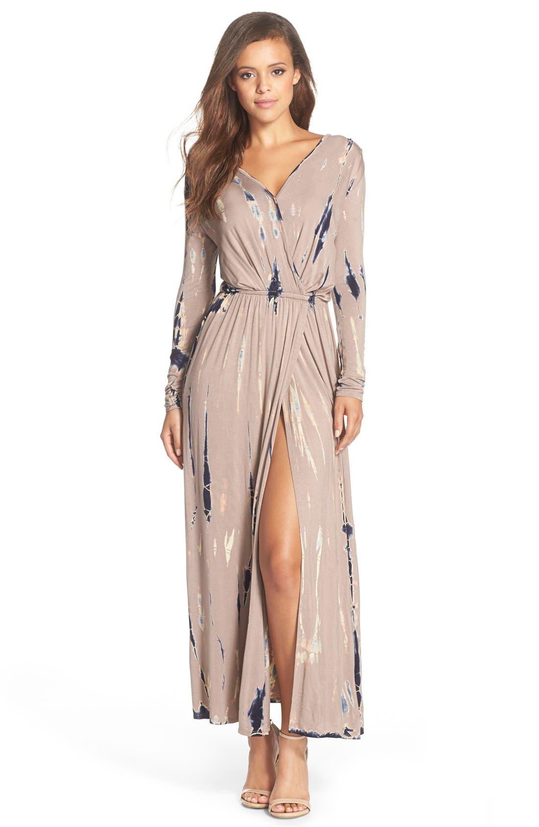 Alternate Image 1 Selected - Fraiche by J Tie Dye Faux Wrap Maxi Dress