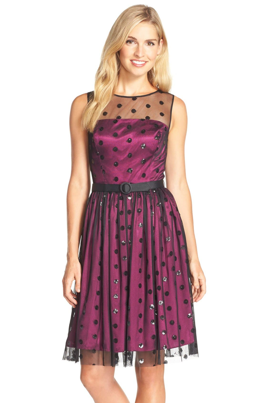 Main Image - Eliza J Sequin Polka Dot Mesh Fit & Flare Dress
