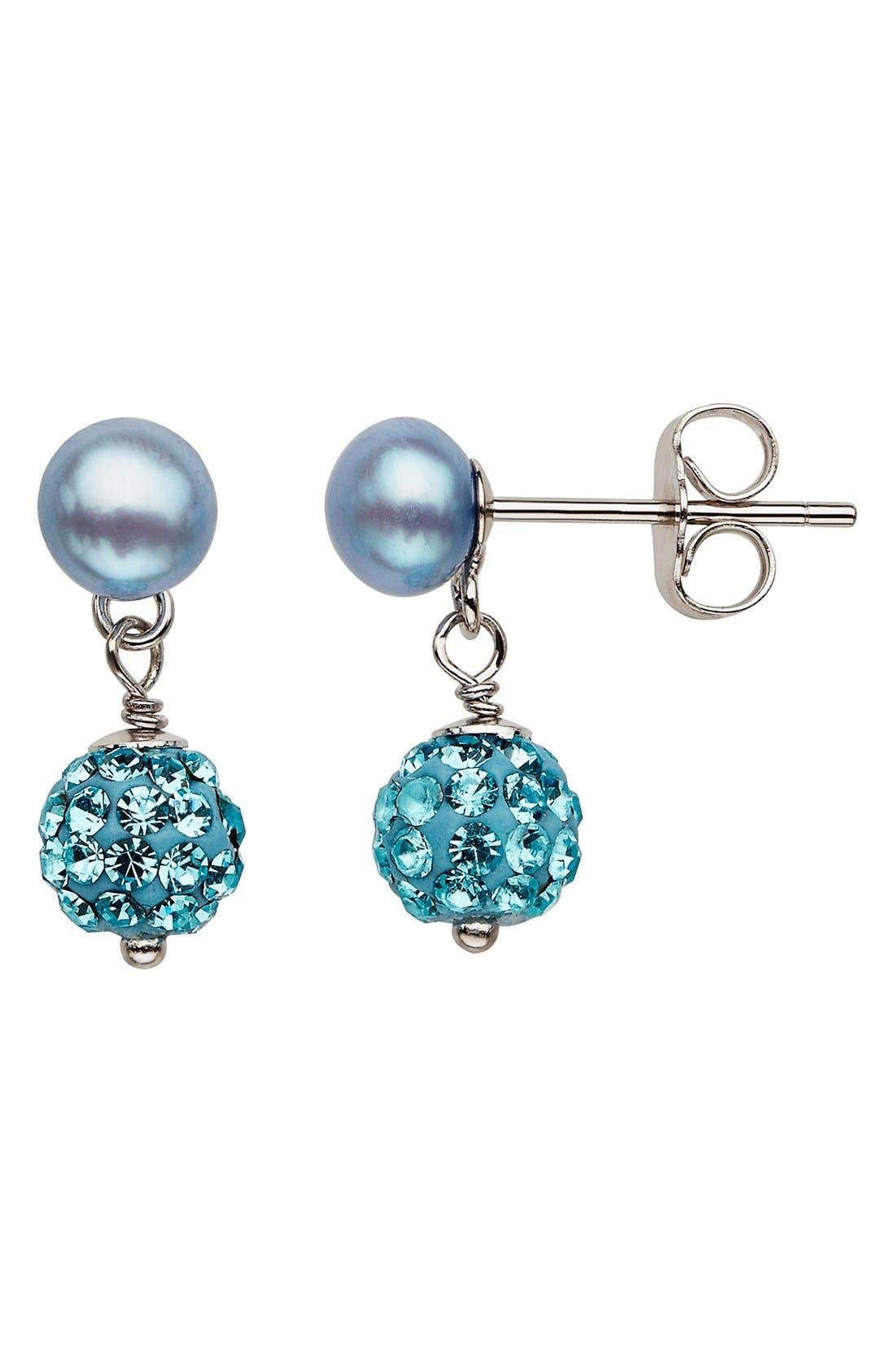 Crystal & FreshwaterPearl Earrings,                             Main thumbnail 1, color,                             Sky Blue