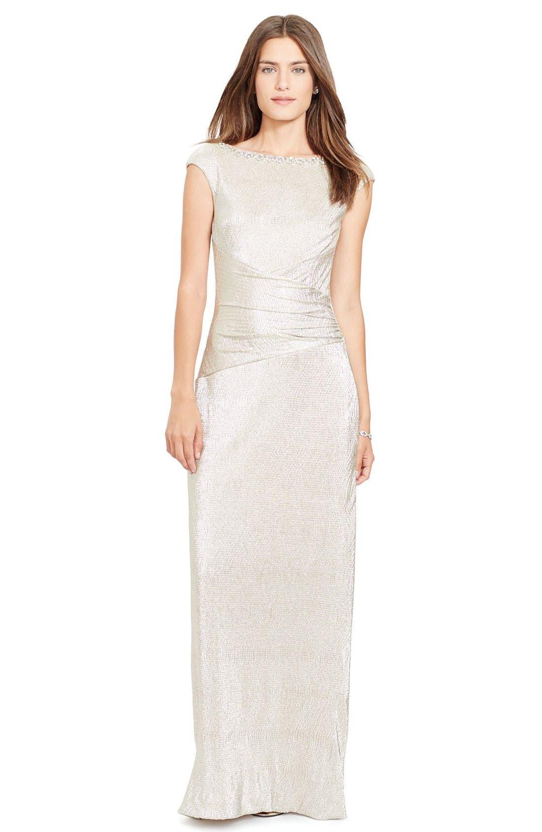 Main Image - Lauren Ralph Lauren Embellished Metallic Knit Column Gown (Regular & Petite)