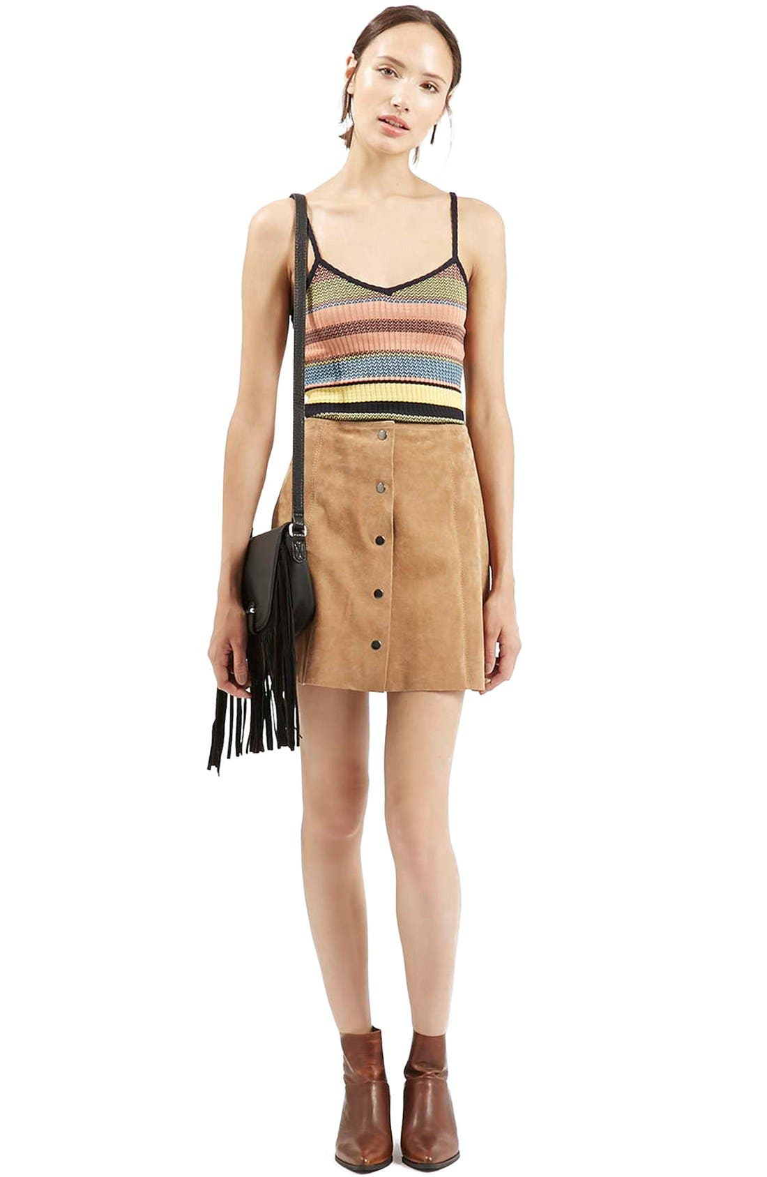 Alternate Image 2  - Topshop Chevron Stripe V-Neck Camisole