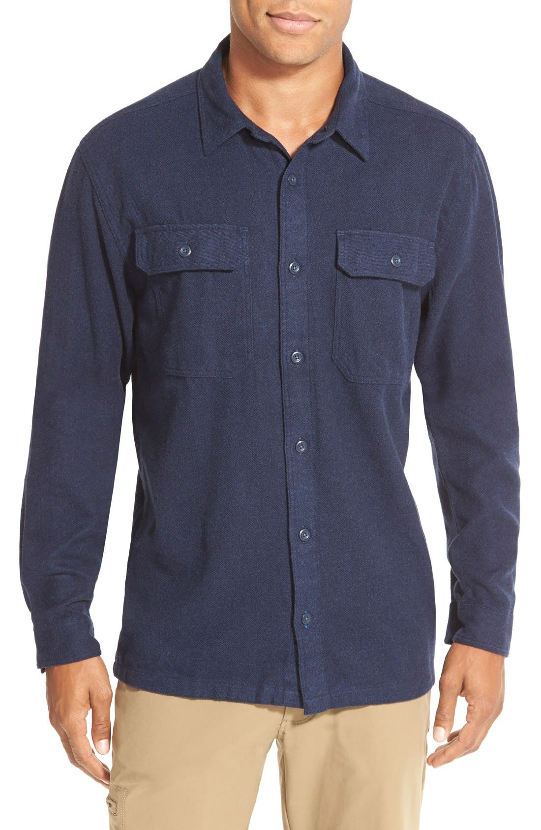 'Fjord' Regular Fit Organic Cotton Flannel Shirt,                             Main thumbnail 1, color,                             Migration Plaid: Andes Blue
