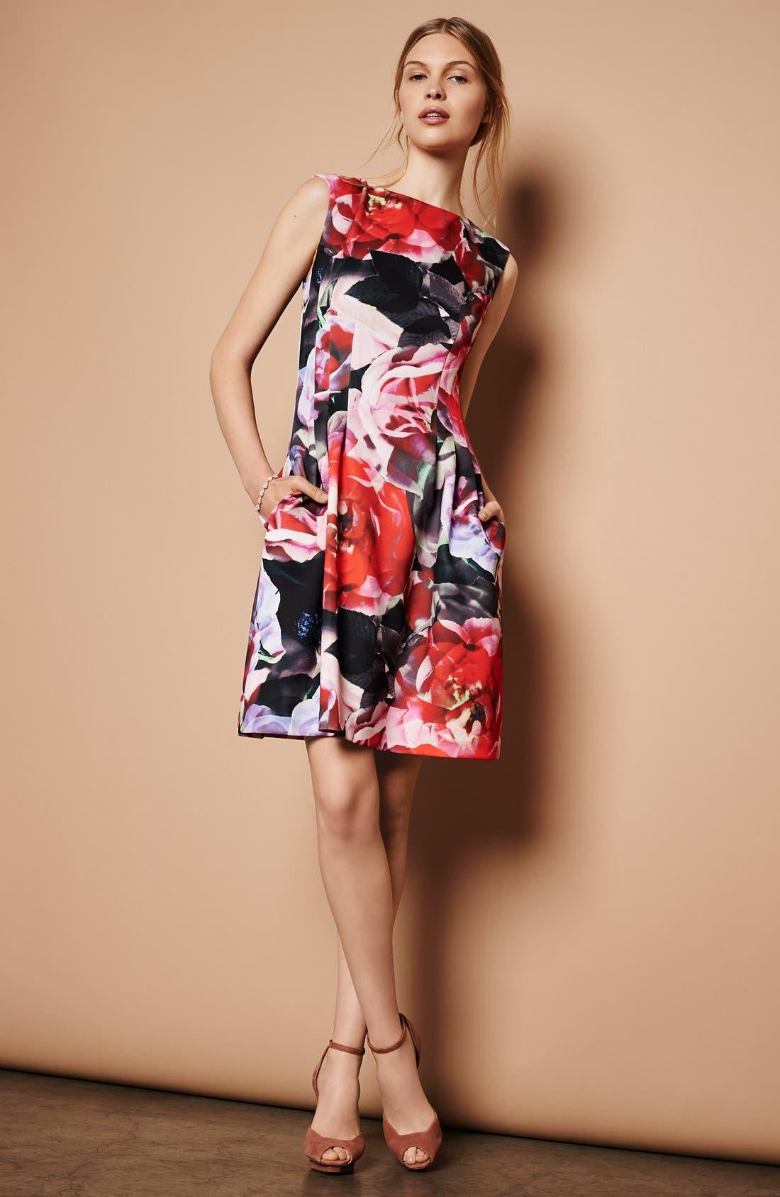 Alternate Image 5  - Vince Camuto Floral Print Scuba Fit & Flare Dress (Regular & Petite)