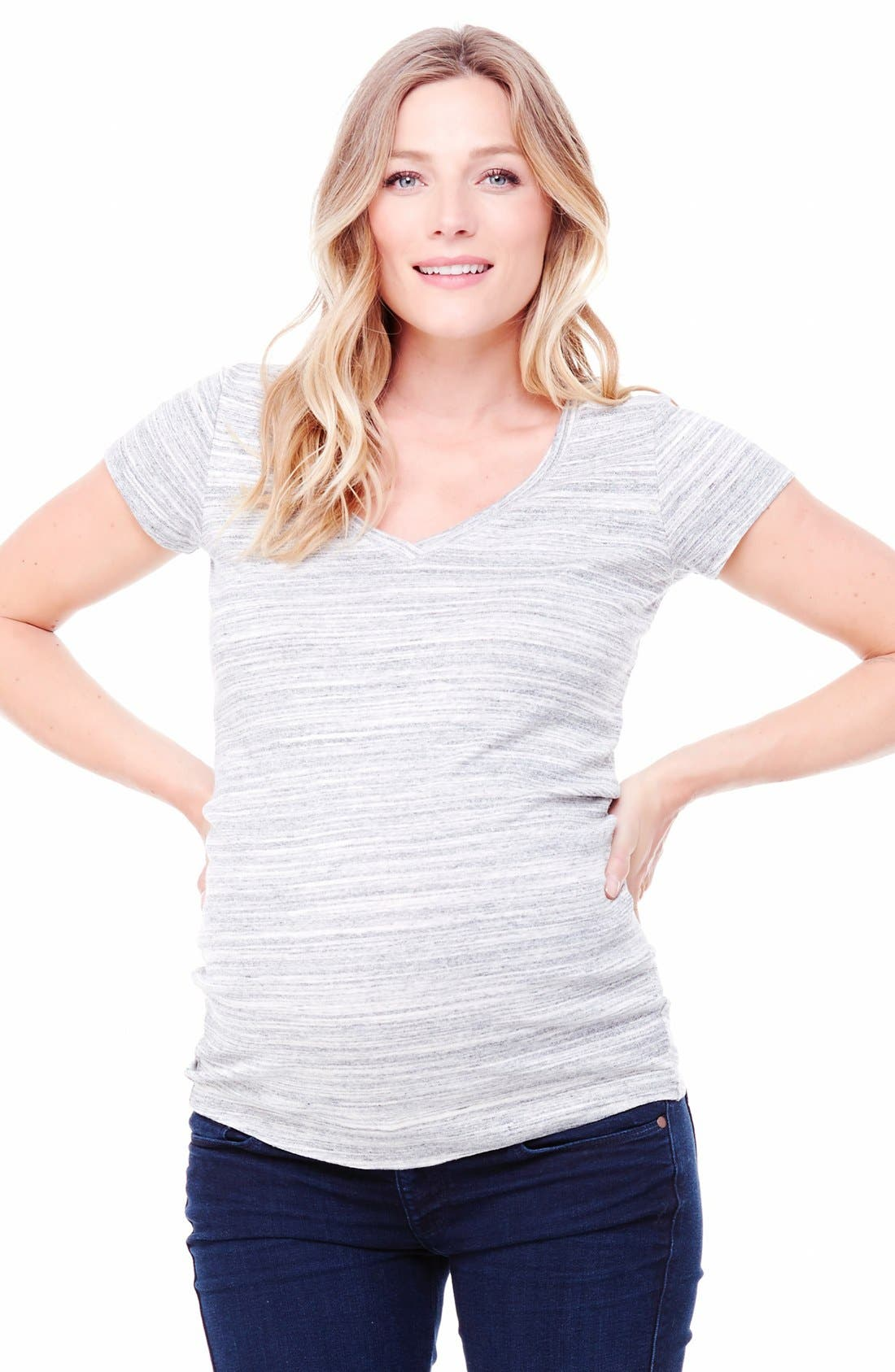 Ingrid & Isabel V-Neck Maternity Tee,                             Main thumbnail 1, color,                             Grey Swept Marble
