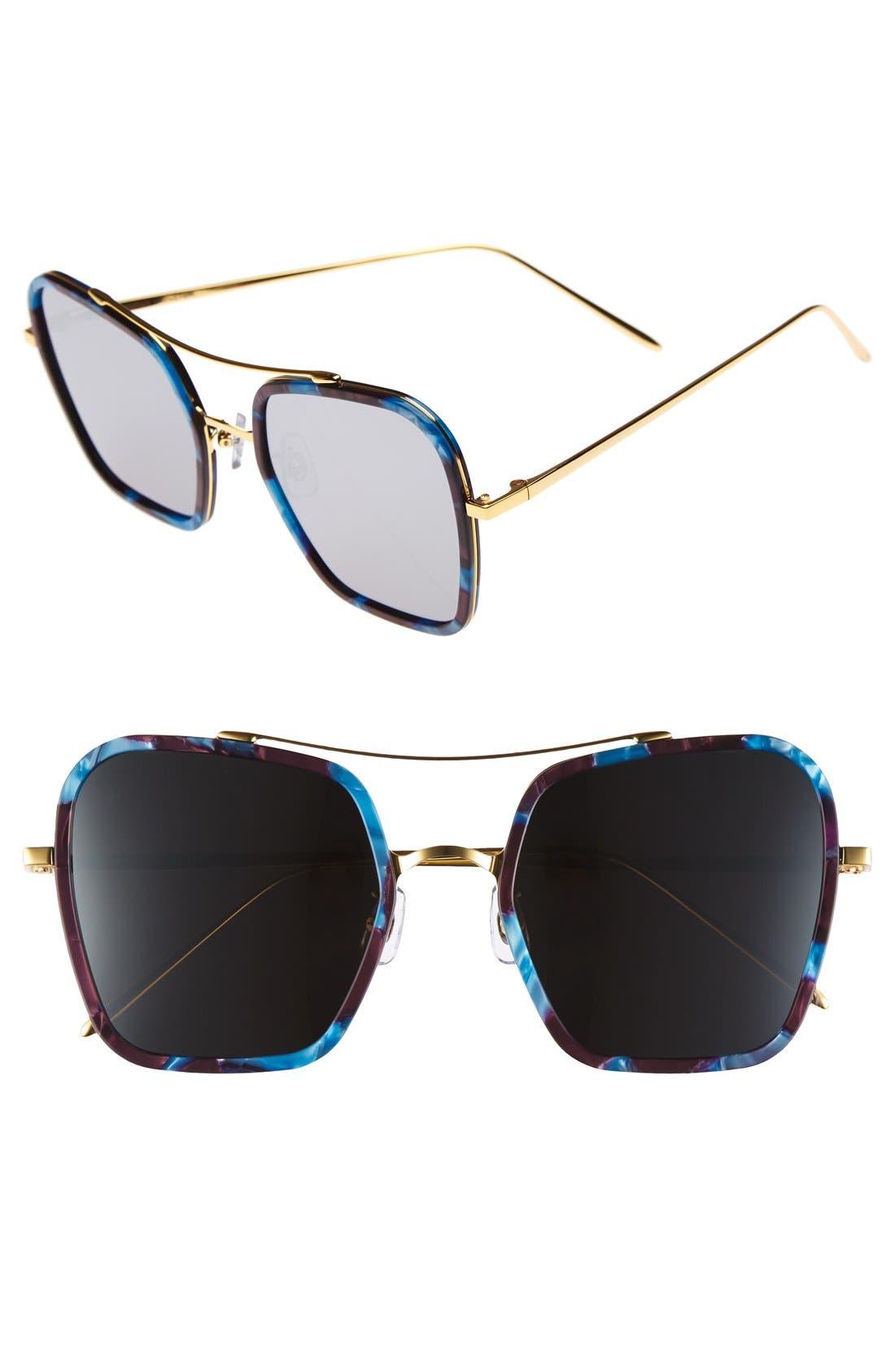 53mm Retro Square Sunglasses,                         Main,                         color, Blue/ Burgundy/ Black Mirror