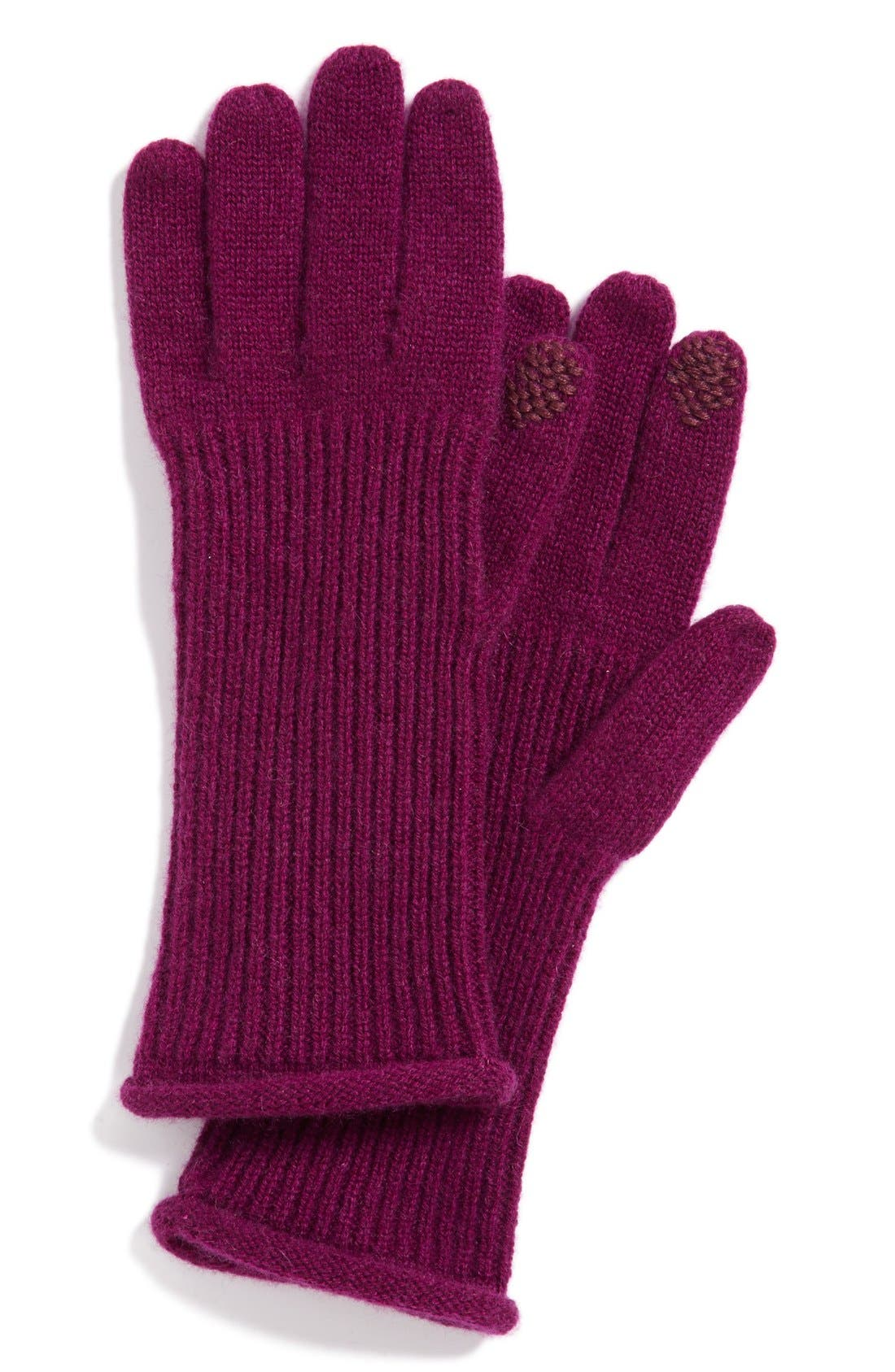 Halogen<sup>®</sup> 'Touch Tech' Cashmere Gloves,                         Main,                         color, Purple Dark
