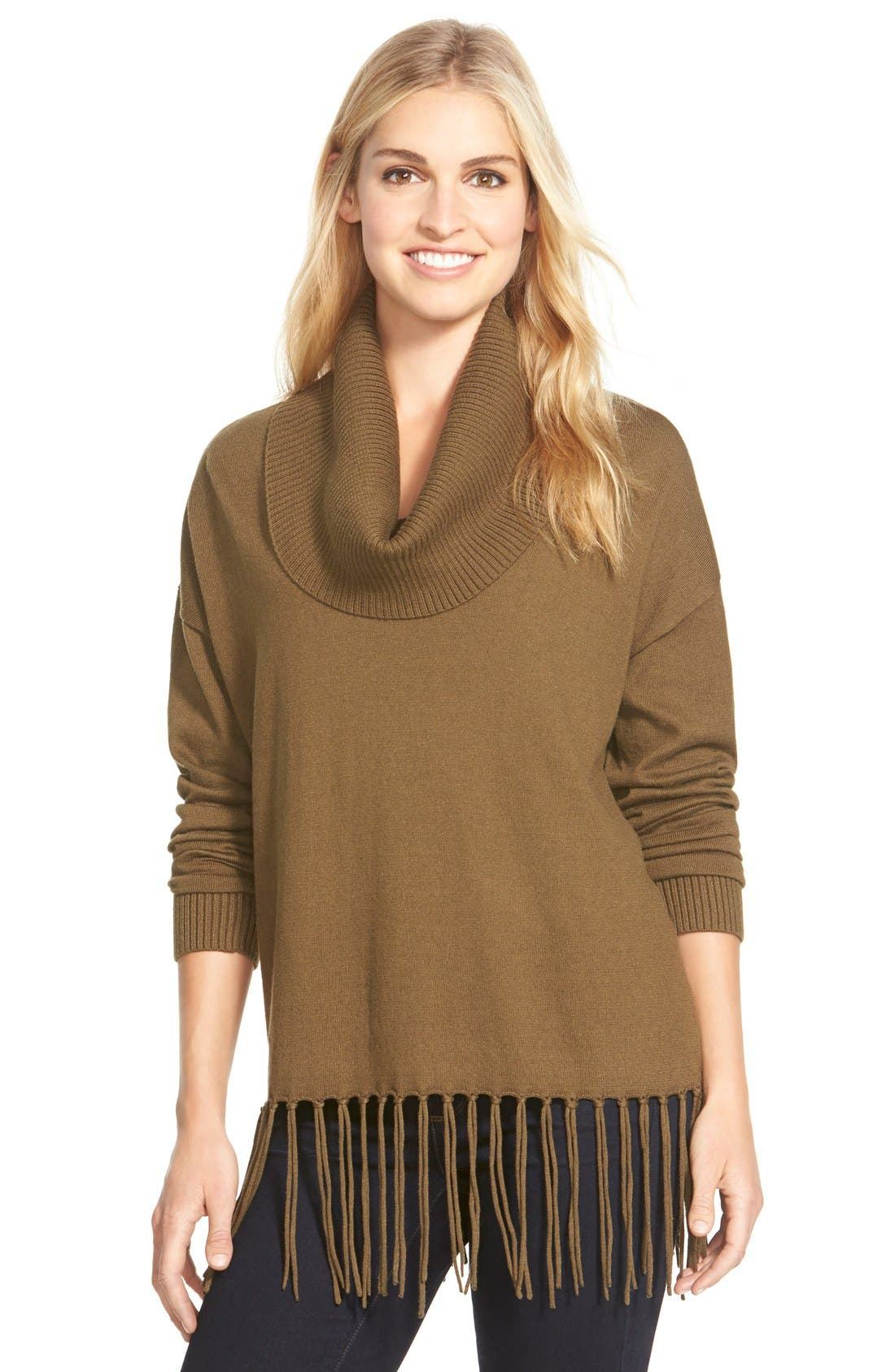MICHAEL Michael Kors Fringe Hem Cowl Neck Sweater (Regular ...