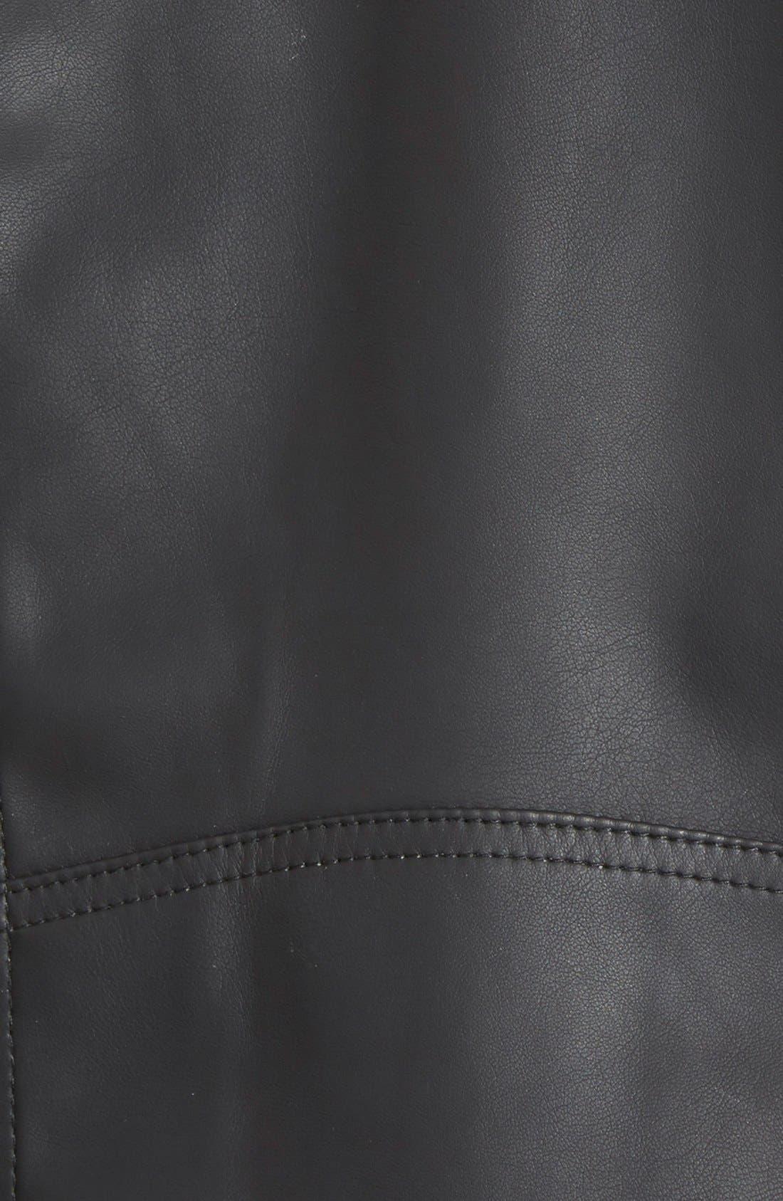 Faux Leather Drape Front Jacket,                             Alternate thumbnail 3, color,                             Black