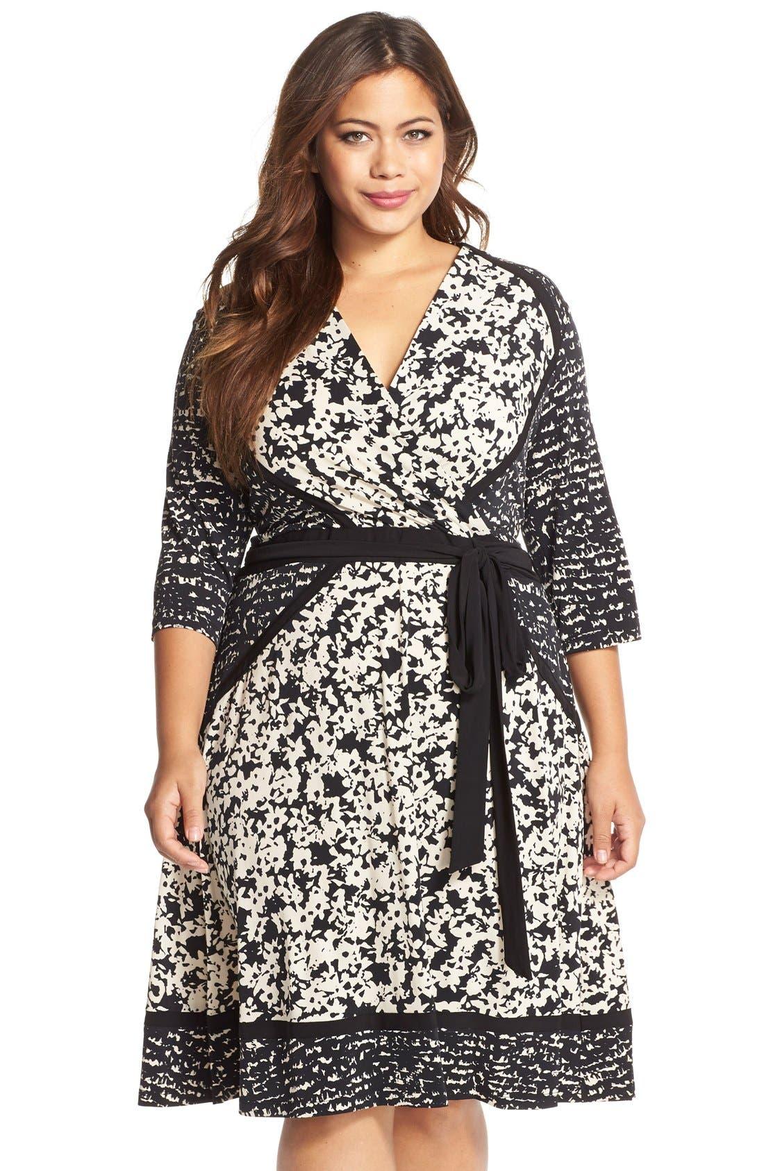 Alternate Image 1 Selected - Taylor Dresses Mix Print Faux Wrap Jersey A-Line Dress