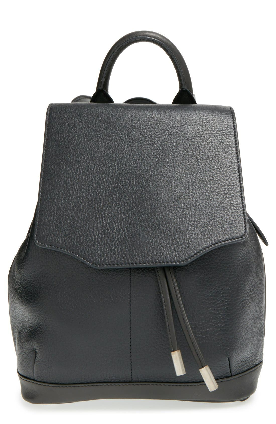 'Mini Pilot' Quilted Leather Backpack,                         Main,                         color, Black