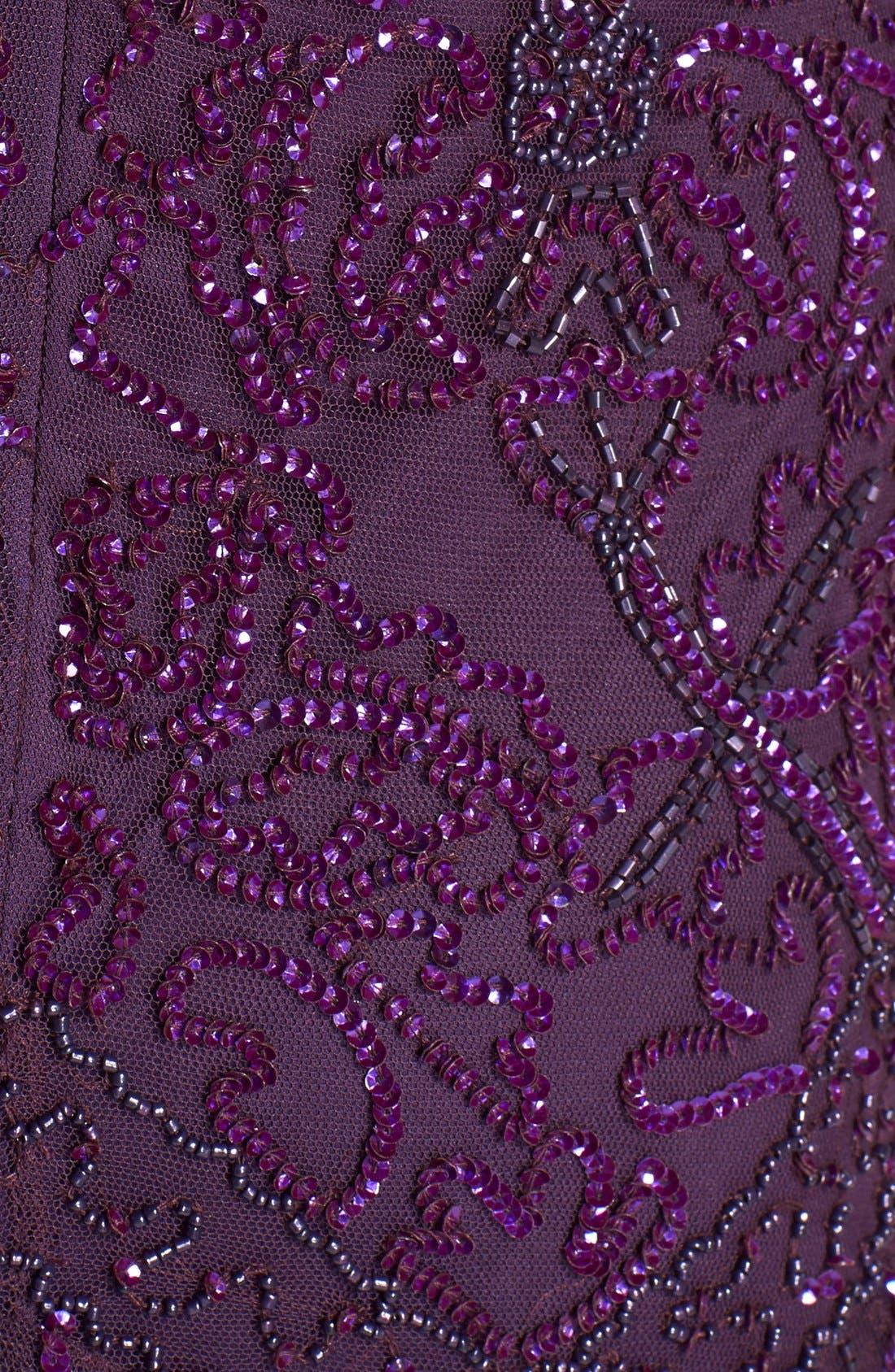 Alternate Image 3  - Pisarro Nights Beaded Mesh A-Line Gown (Regular & Petite)