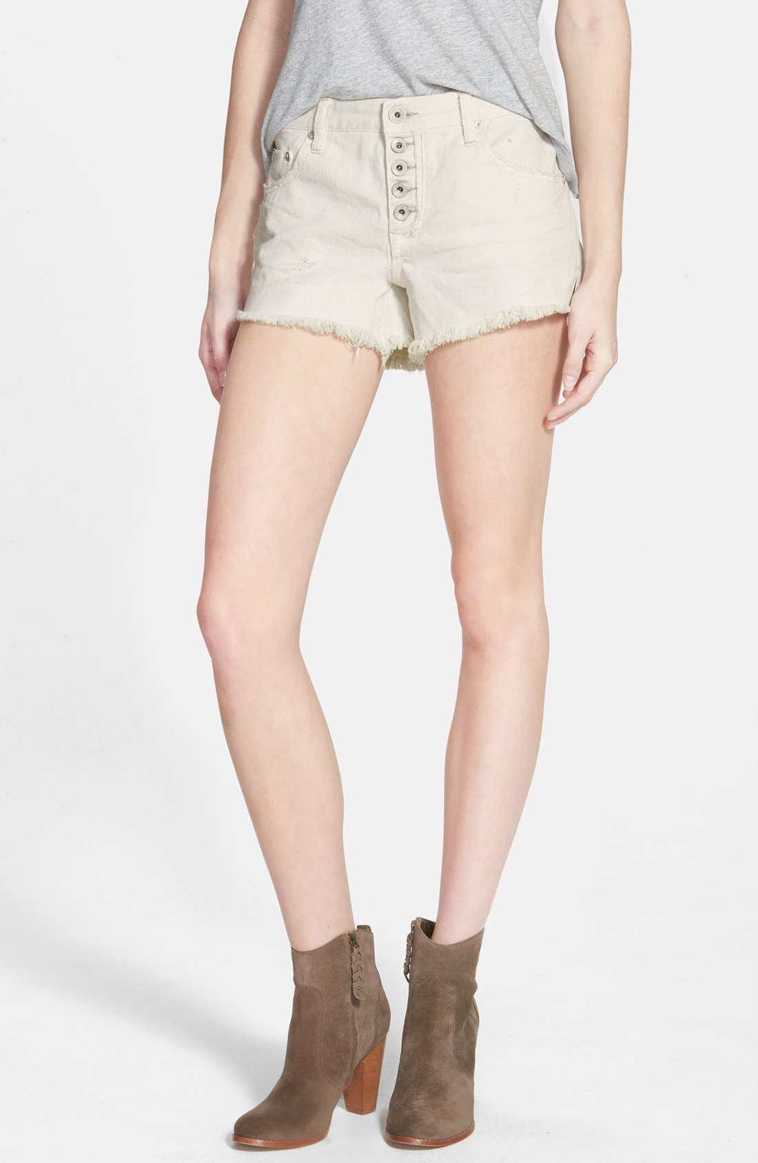 Main Image - Free People 'Runaway' Cutoff Denim Shorts (Polar White)