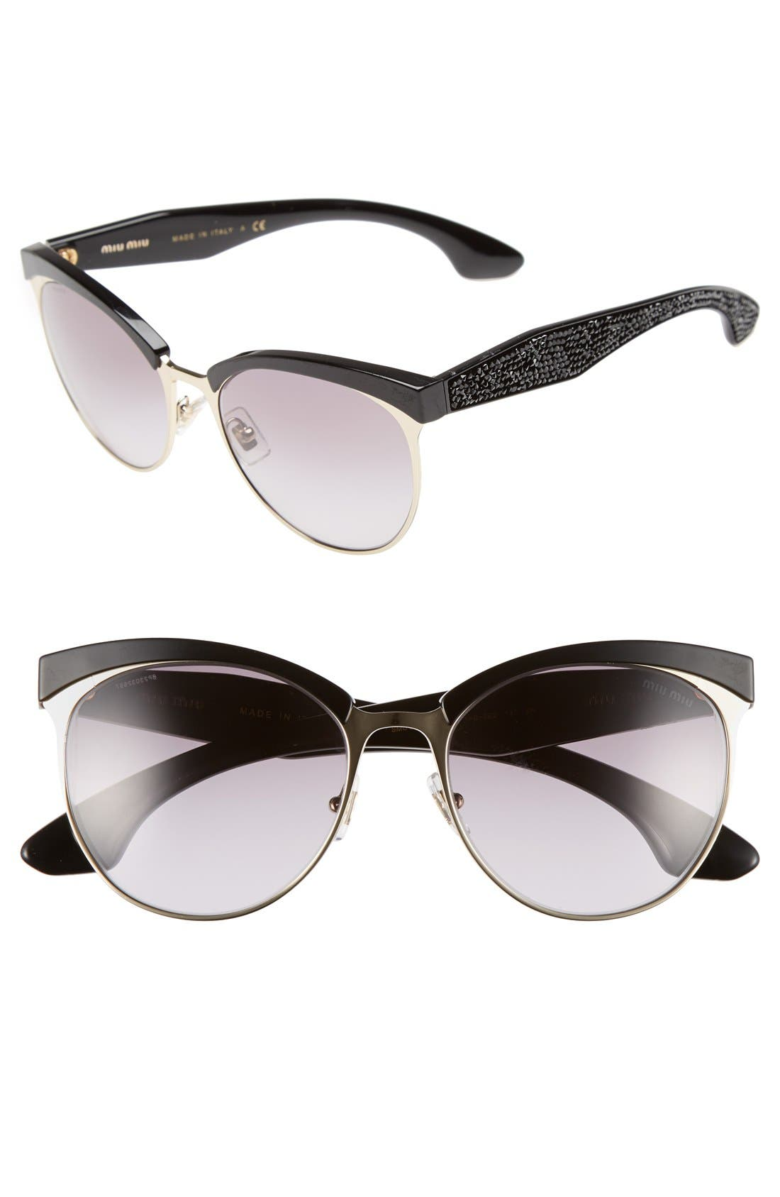 MIU MIU Miu Miu 56mm Pavé Cat Eye Sunglasses