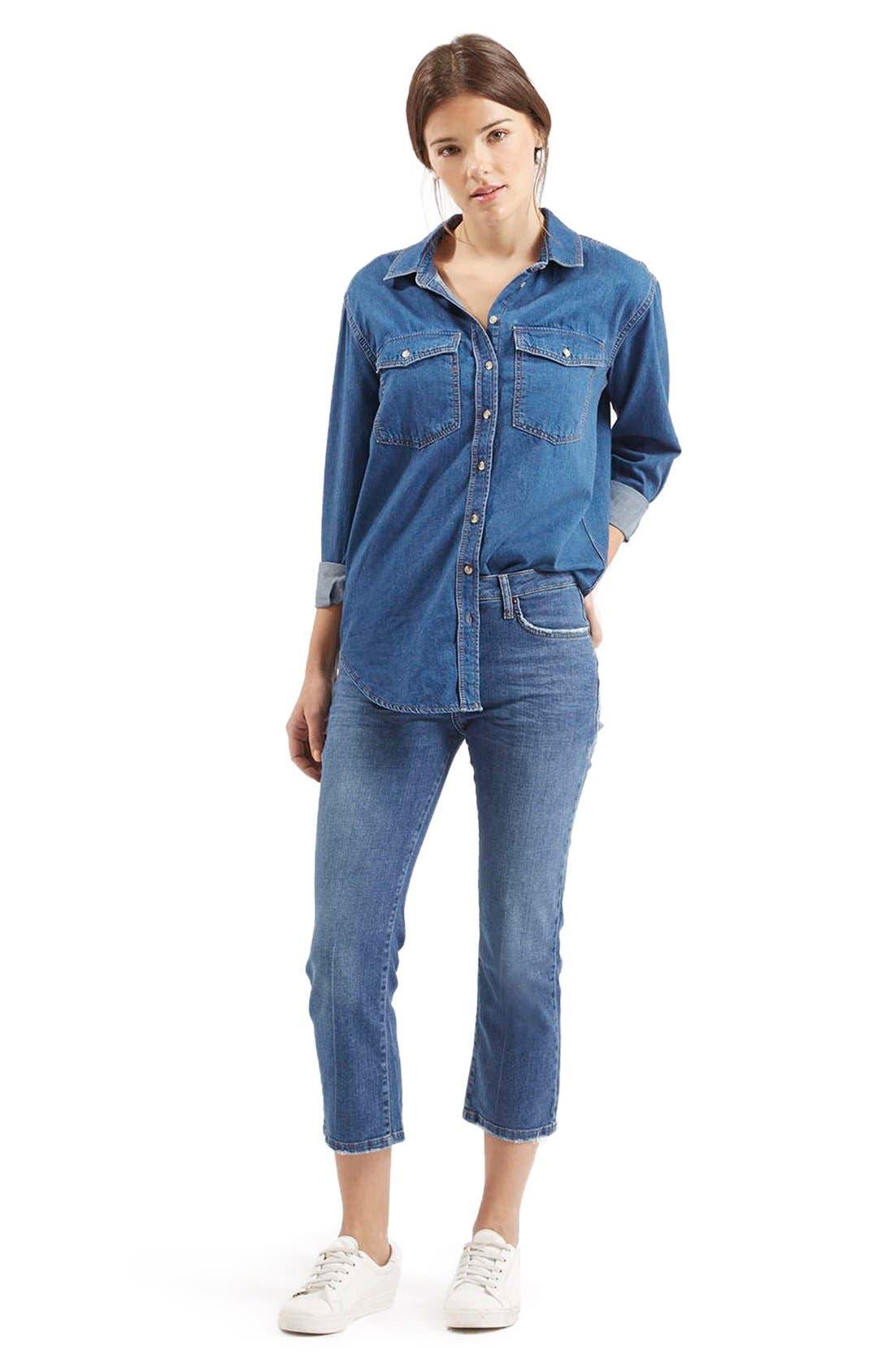 Alternate Image 3  - TopshopFlared Crop Jeans (Mid Denim) (Petite)