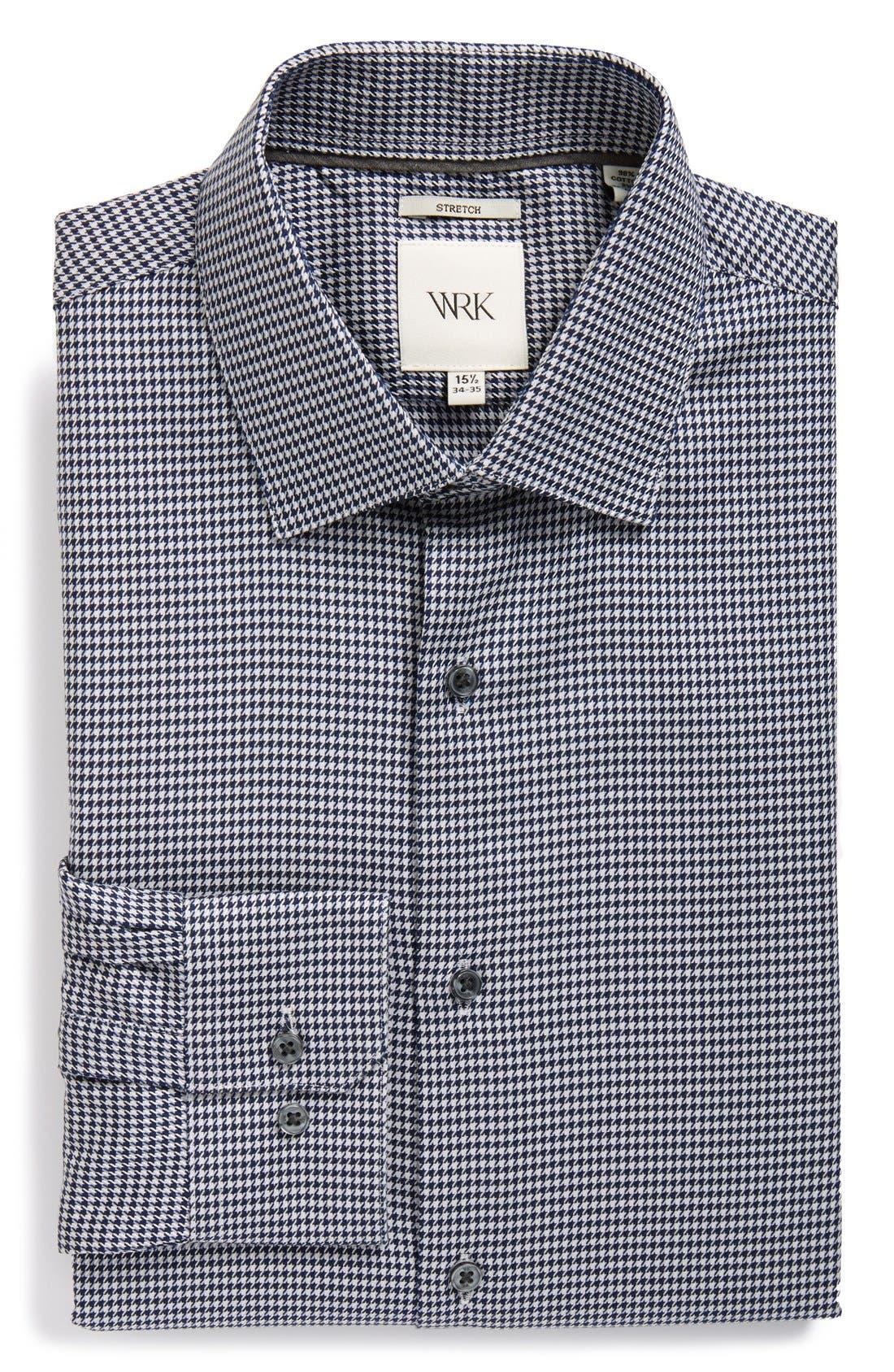 W.R.K Extra Trim Fit Stretch Houndstooth Dress Shirt