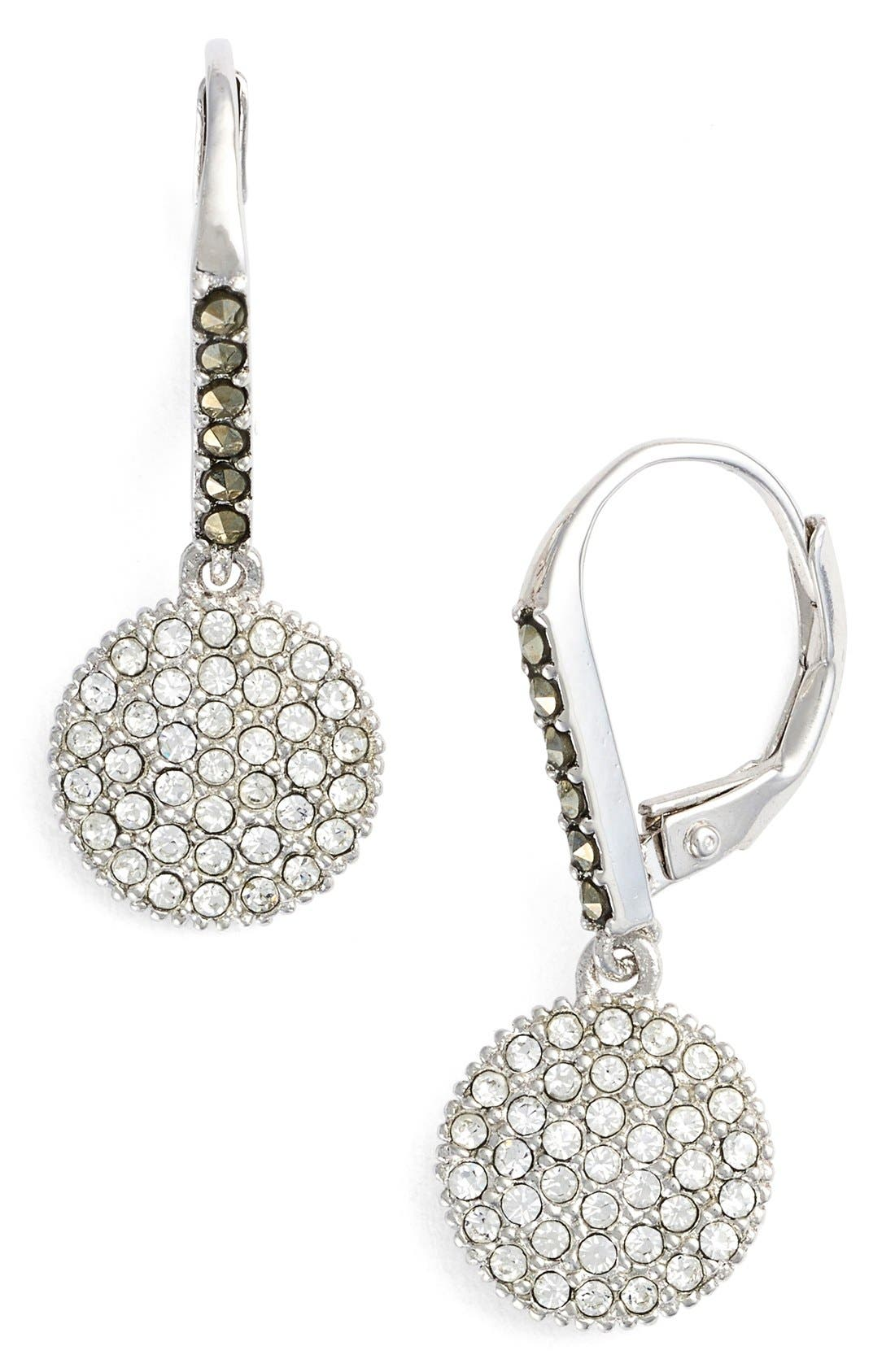 Round Drop Earrings,                         Main,                         color, Silver