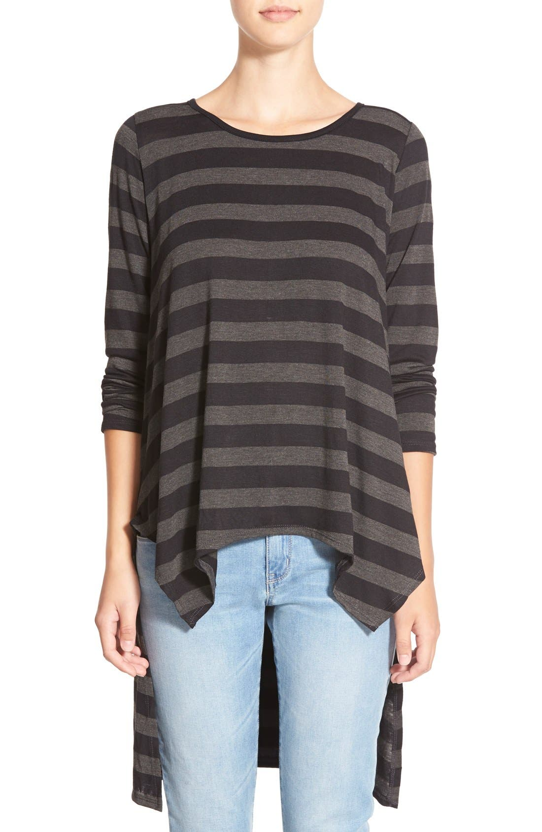 Stripe High/Low Tunic Tee,                             Main thumbnail 1, color,                             Black Large Stripe