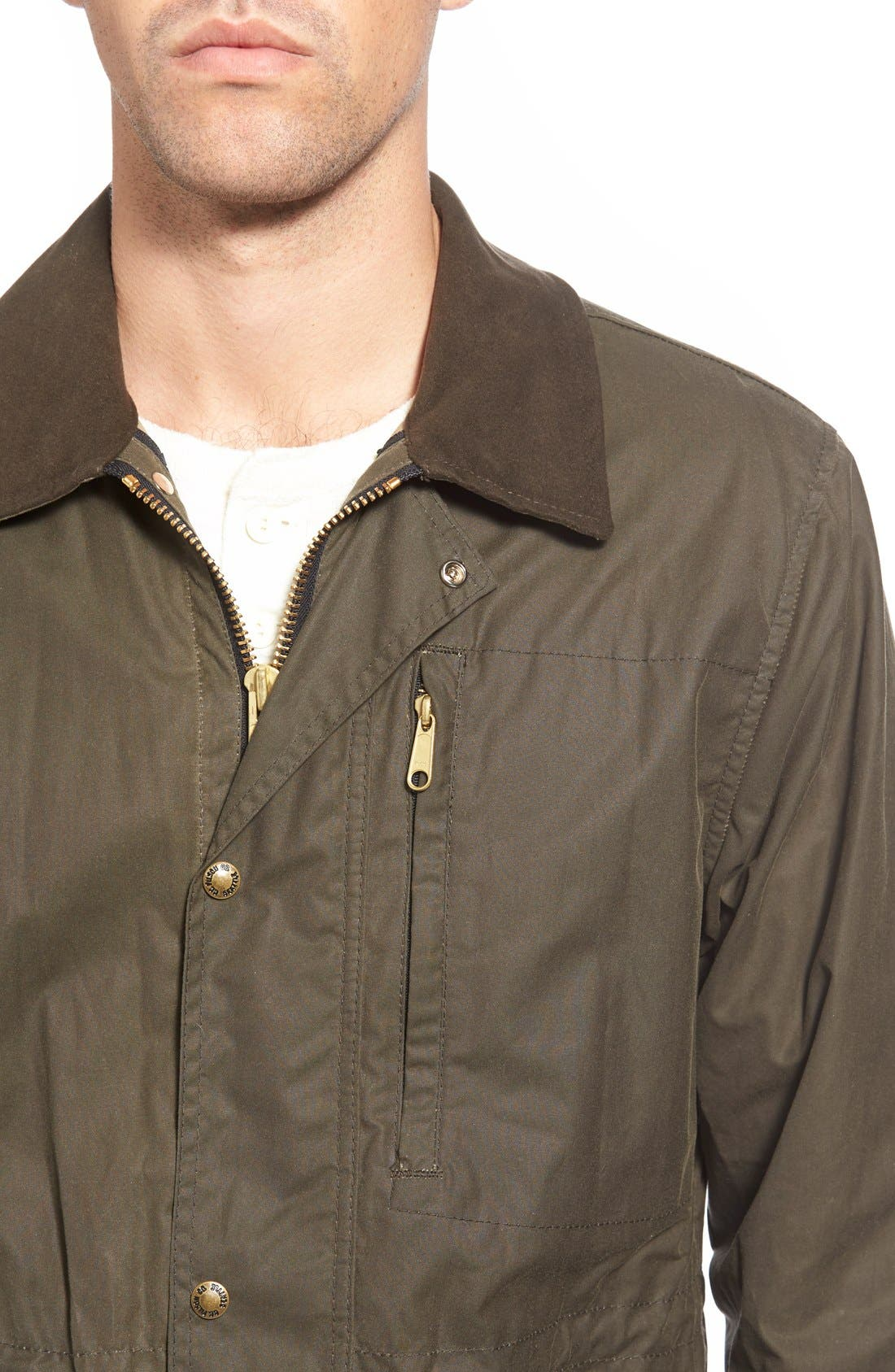 'Cover Cloth Mile Marker' Waxed Cotton Coat,                             Alternate thumbnail 4, color,                             Otter Green