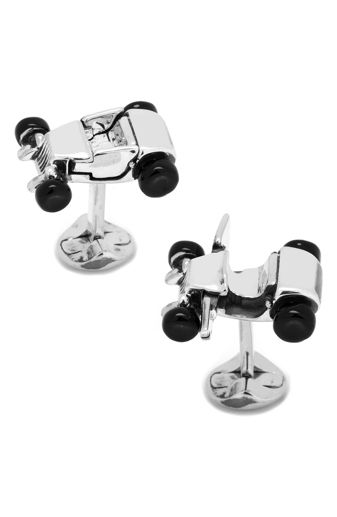 Hot Rod Cuff Links,                         Main,                         color, Silver