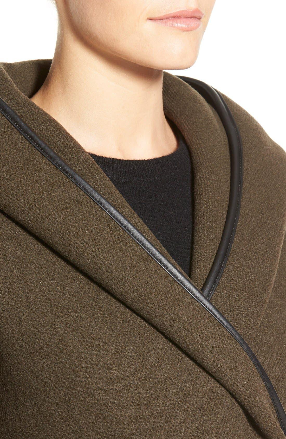 Alternate Image 3  - Calvin Klein Hooded Wool Blend Wrap Coat