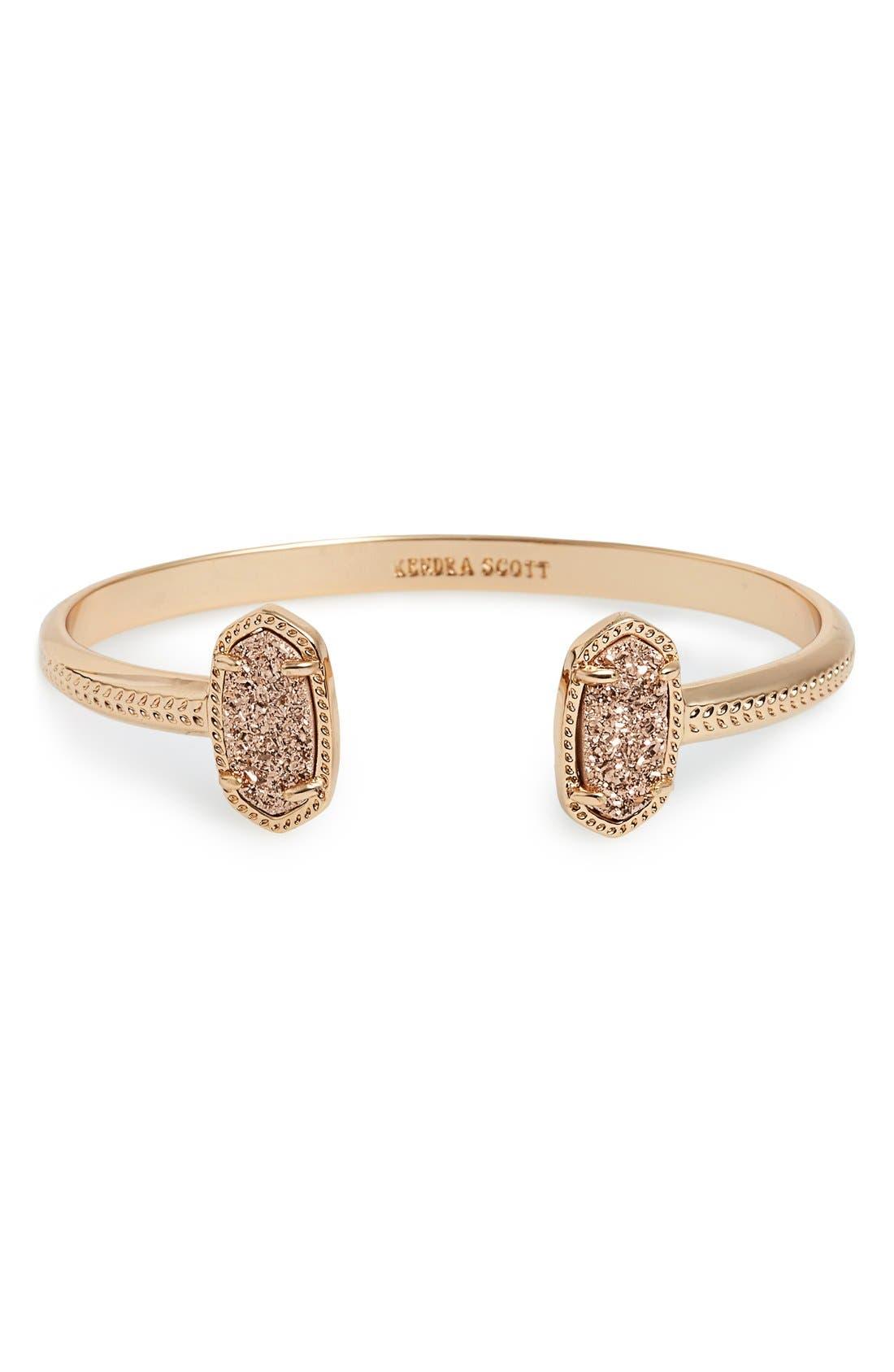 'Elton' Station Cuff Bracelet,                         Main,                         color, Rose Drusy/ Rose Gold