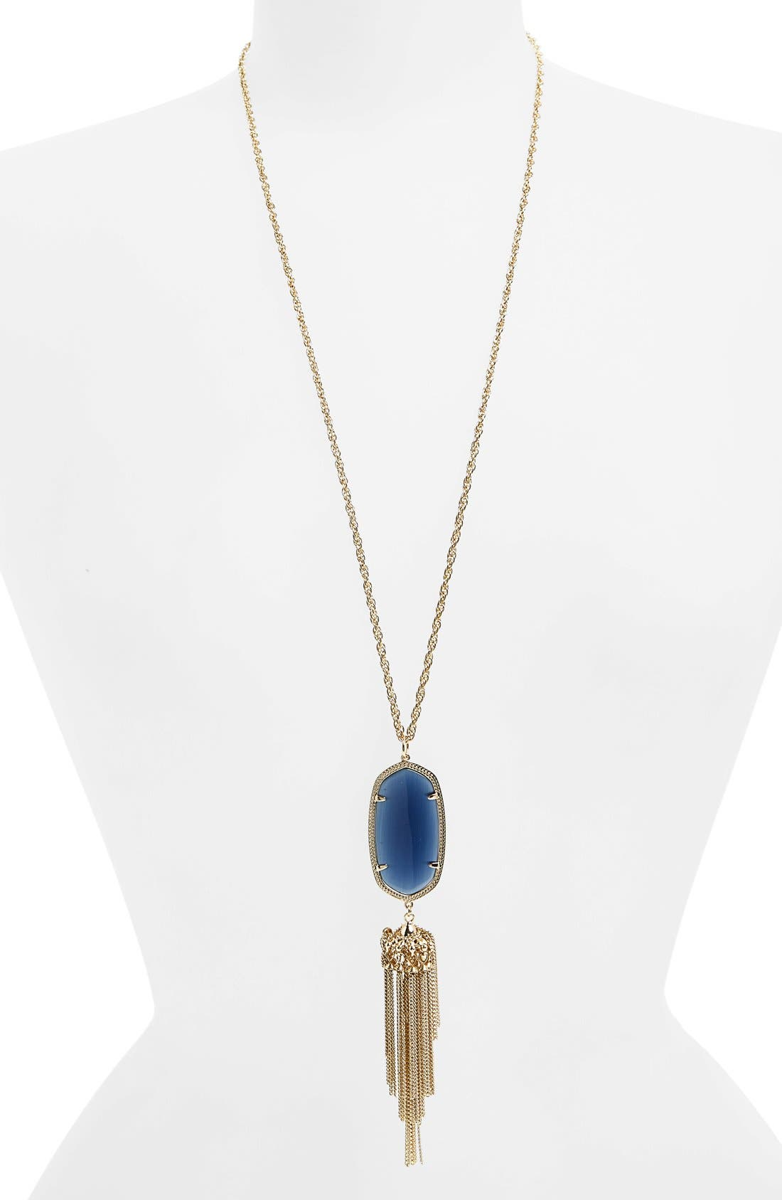 'Rayne' Tassel Pendant Necklace,                             Main thumbnail 1, color,                             Navy/ Gold