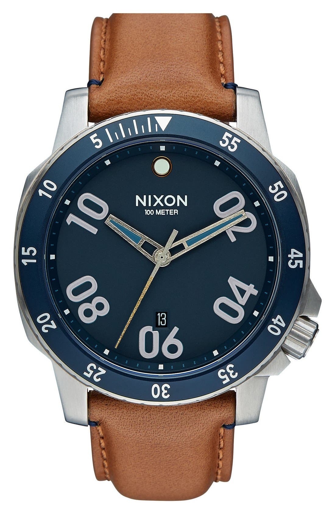 Nixon 'The Ranger' Leather Strap Watch, 44mm
