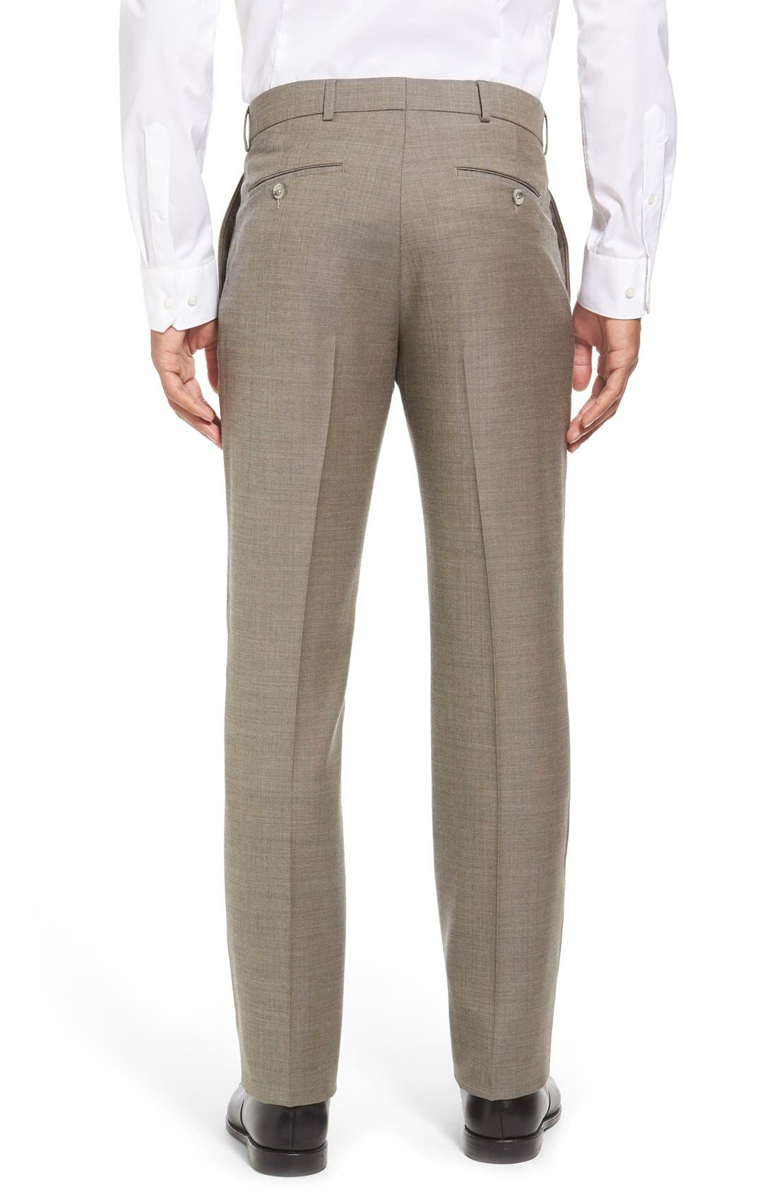 Flat Front Sharkskin Wool Trousers,                             Alternate thumbnail 3, color,                             British Tan