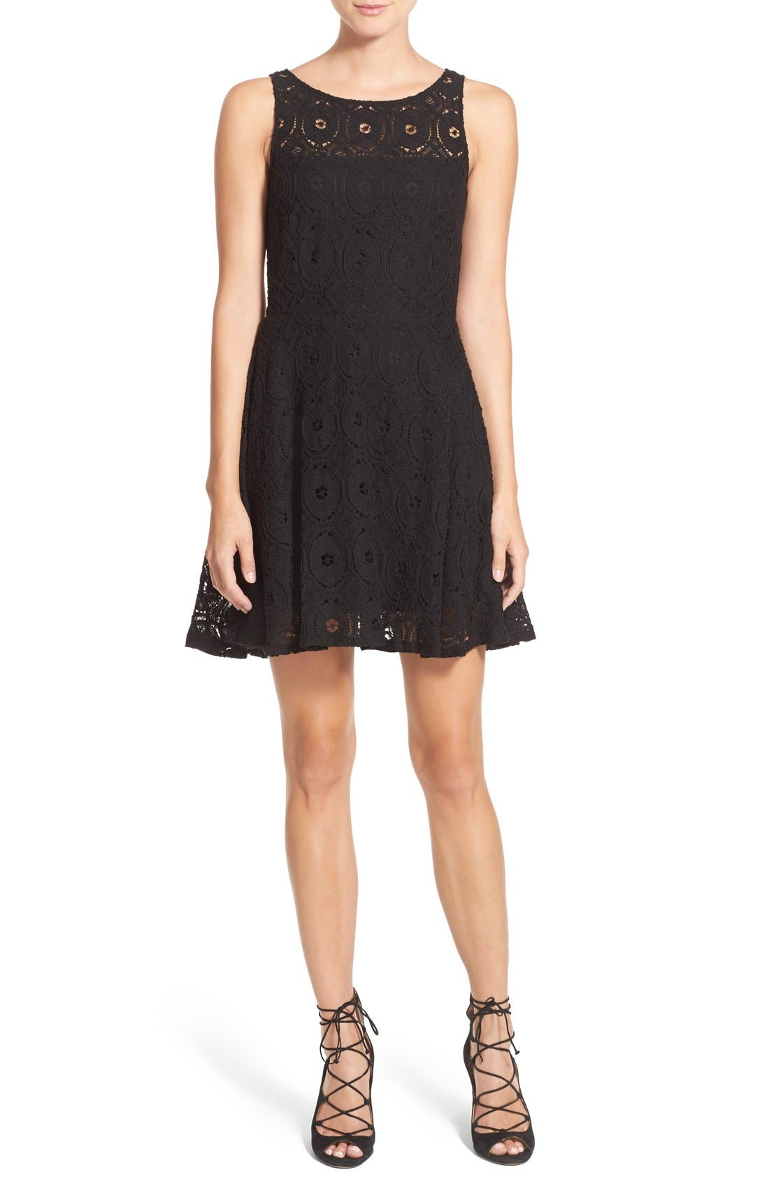 'Renley' Lace Fit & Flare Dress,                             Main thumbnail 1, color,                             Black