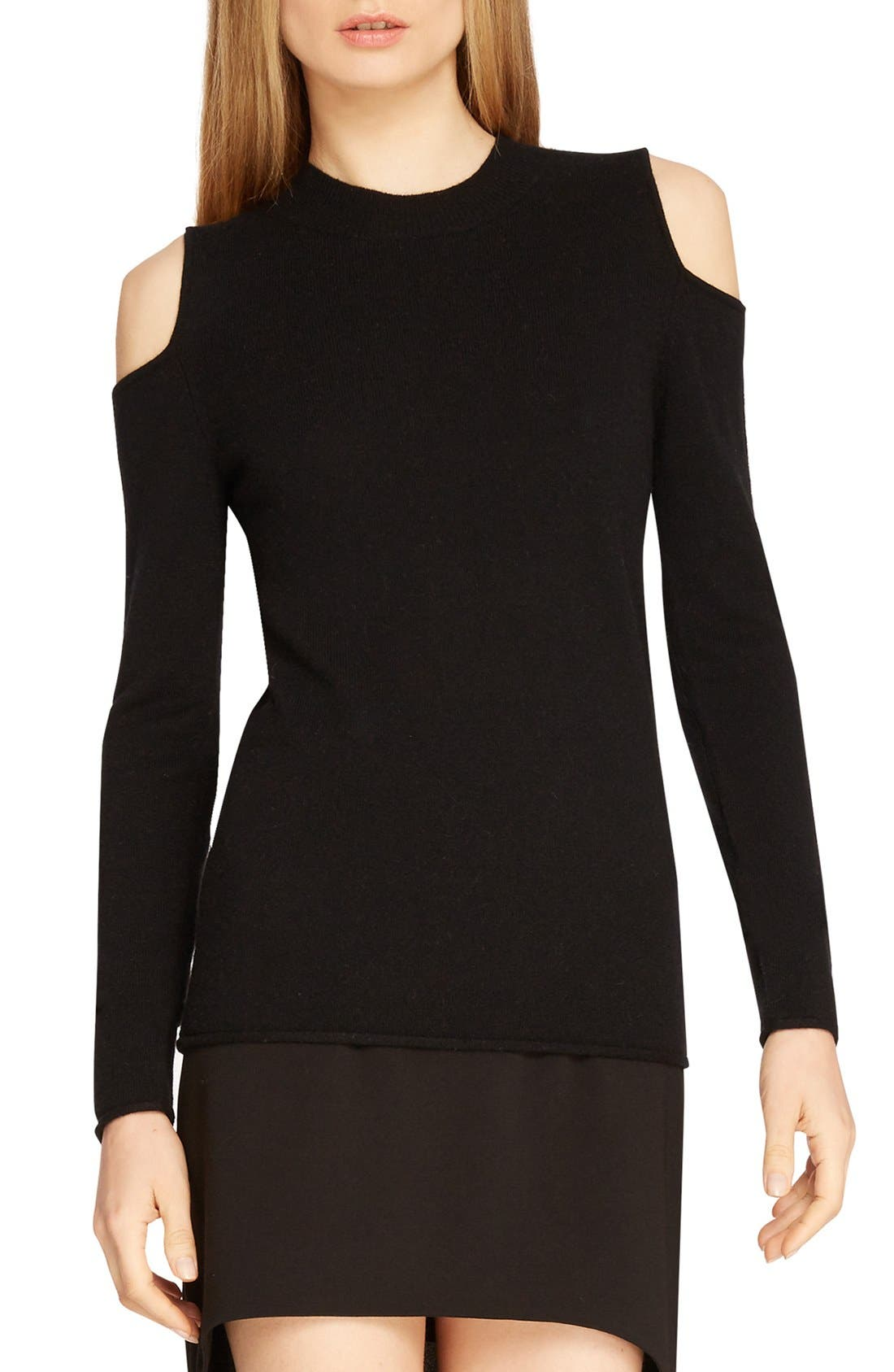 Alternate Image 1 Selected - Halston Heritage Cutaway Shoulder Merino Wool & Cashmere Sweater