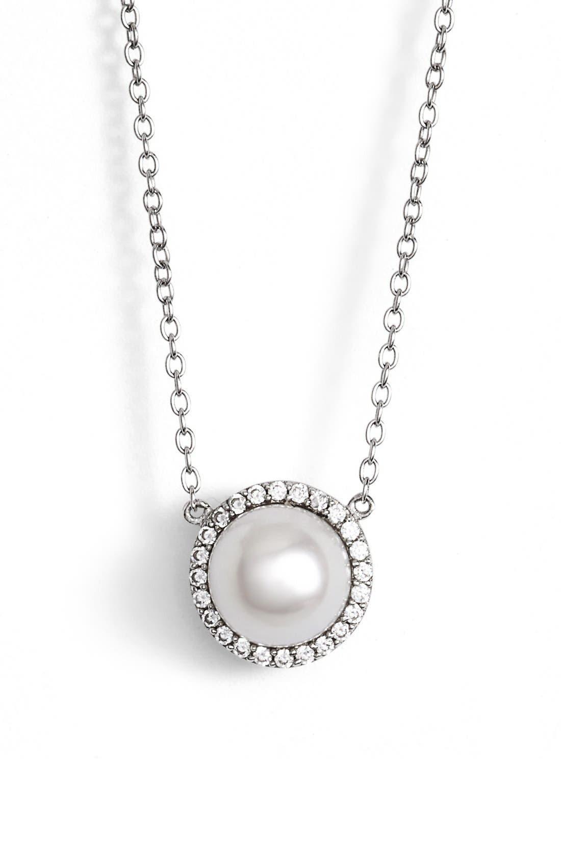 'Lassaire' Pearl Pendant Necklace,                         Main,                         color, Silver/ Clear