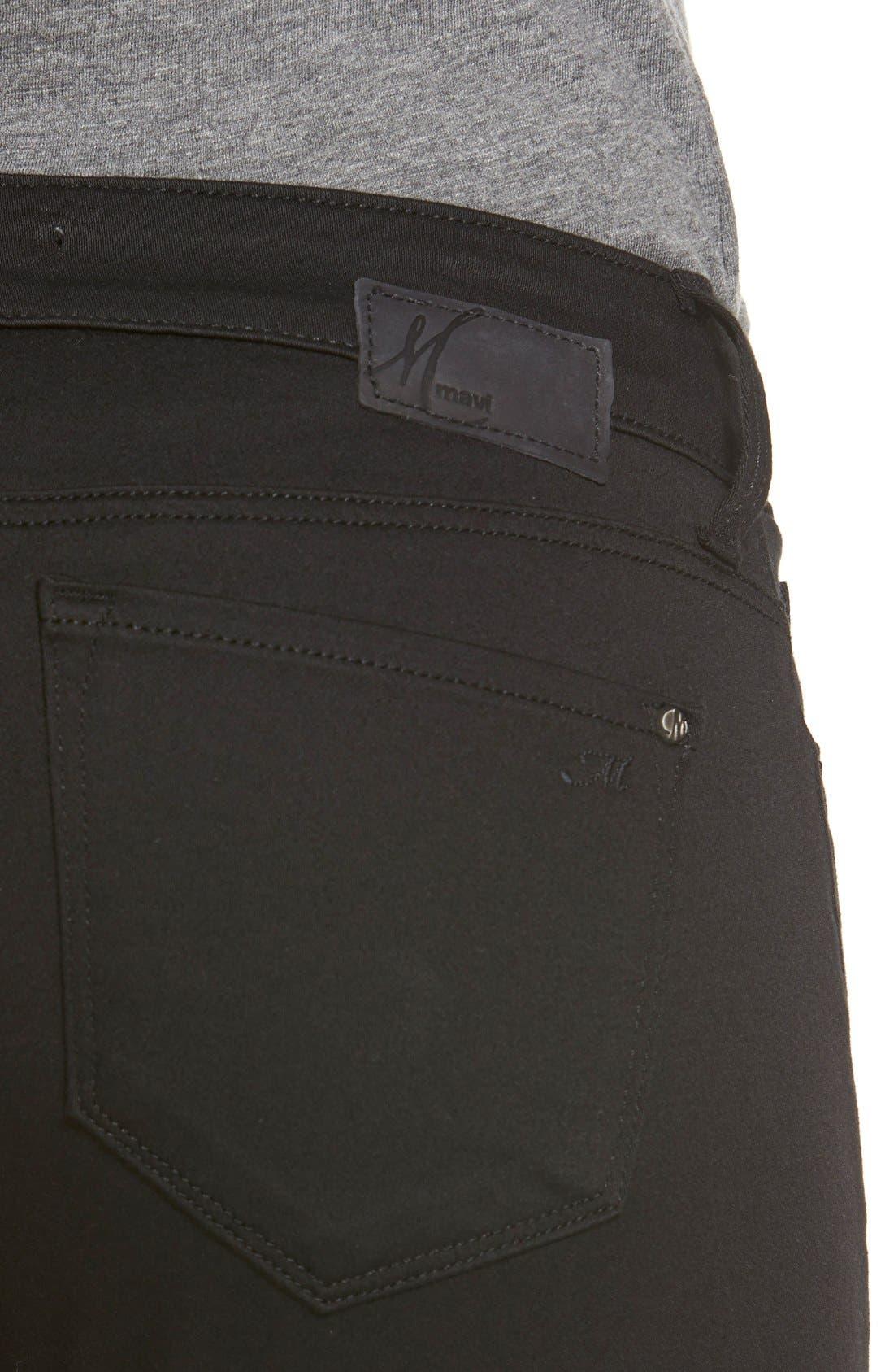 'Alexa' Mid Rise Skinny Jeans,                             Alternate thumbnail 4, color,                             Jet Black