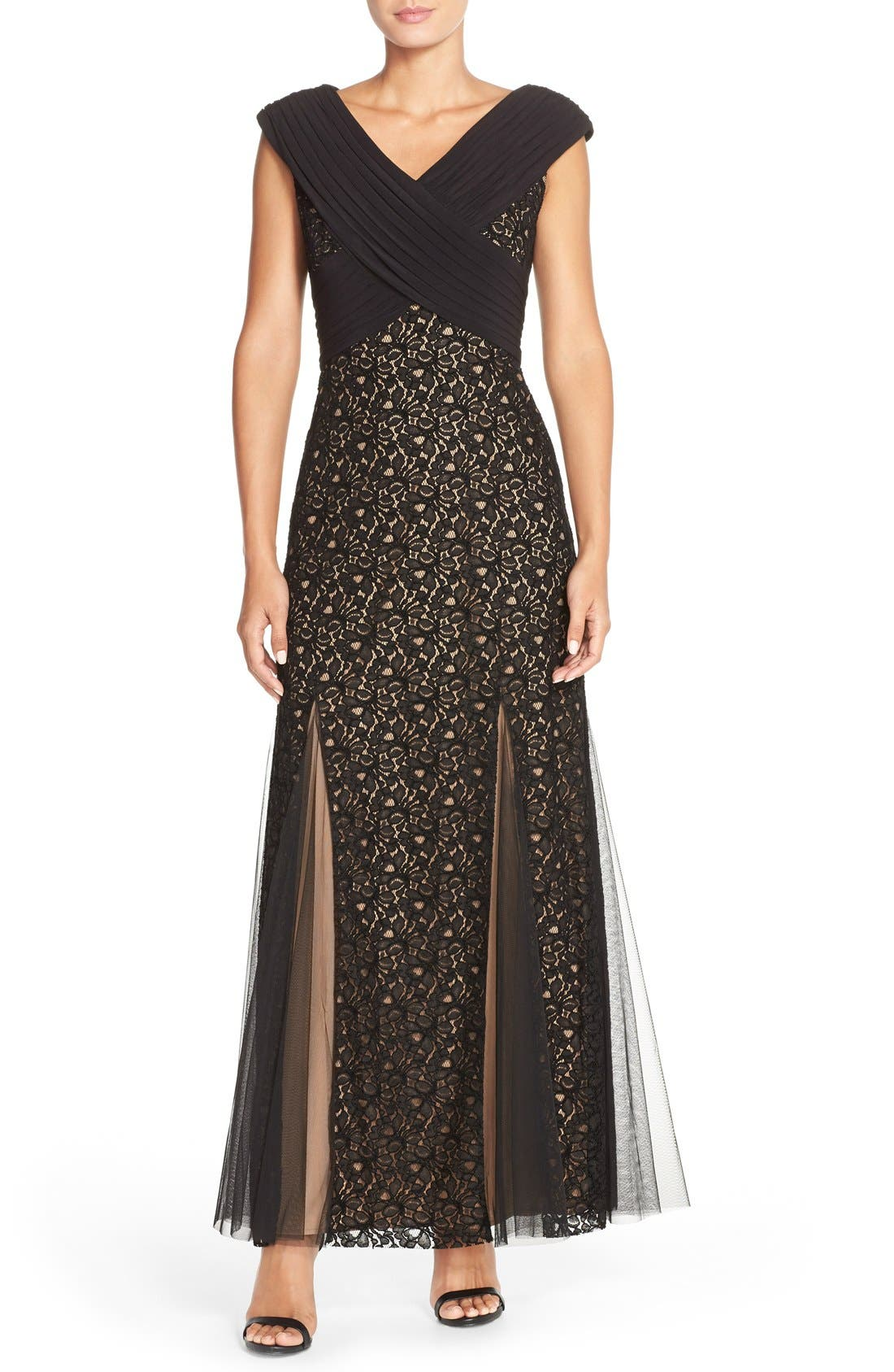 Main Image - PatraCrisscross Mixed Media Gown