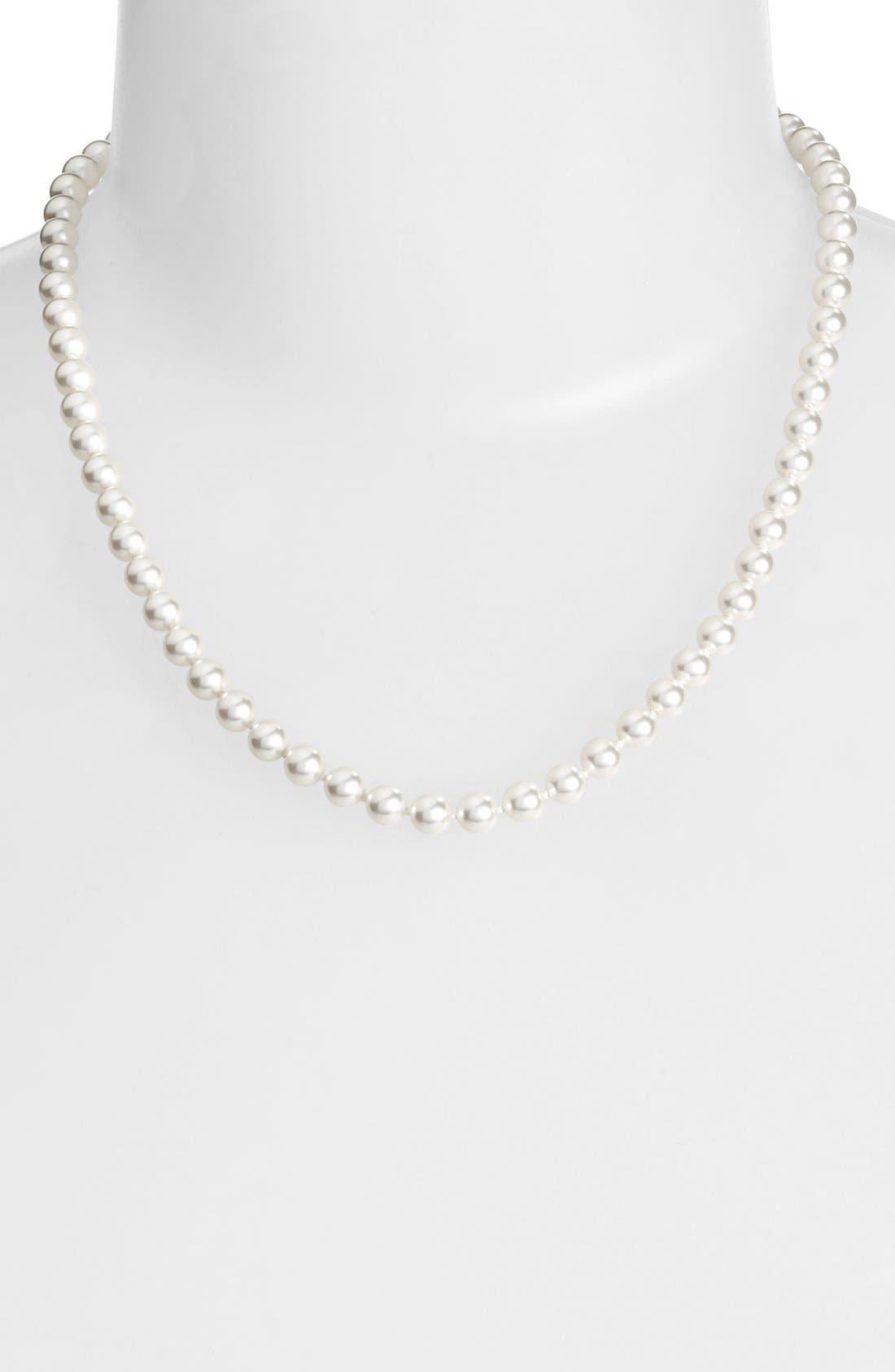 ImitationPearl Collar Necklace,                         Main,                         color, Rhodium