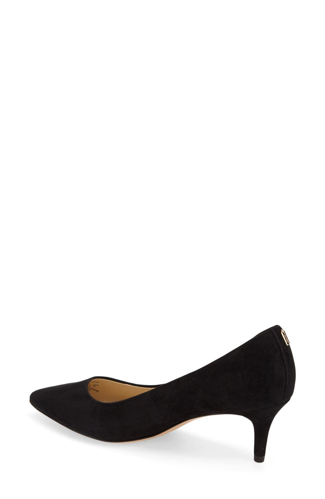 Lacey Pointy Toe Pump,                             Alternate thumbnail 2, color,                             Black Suede