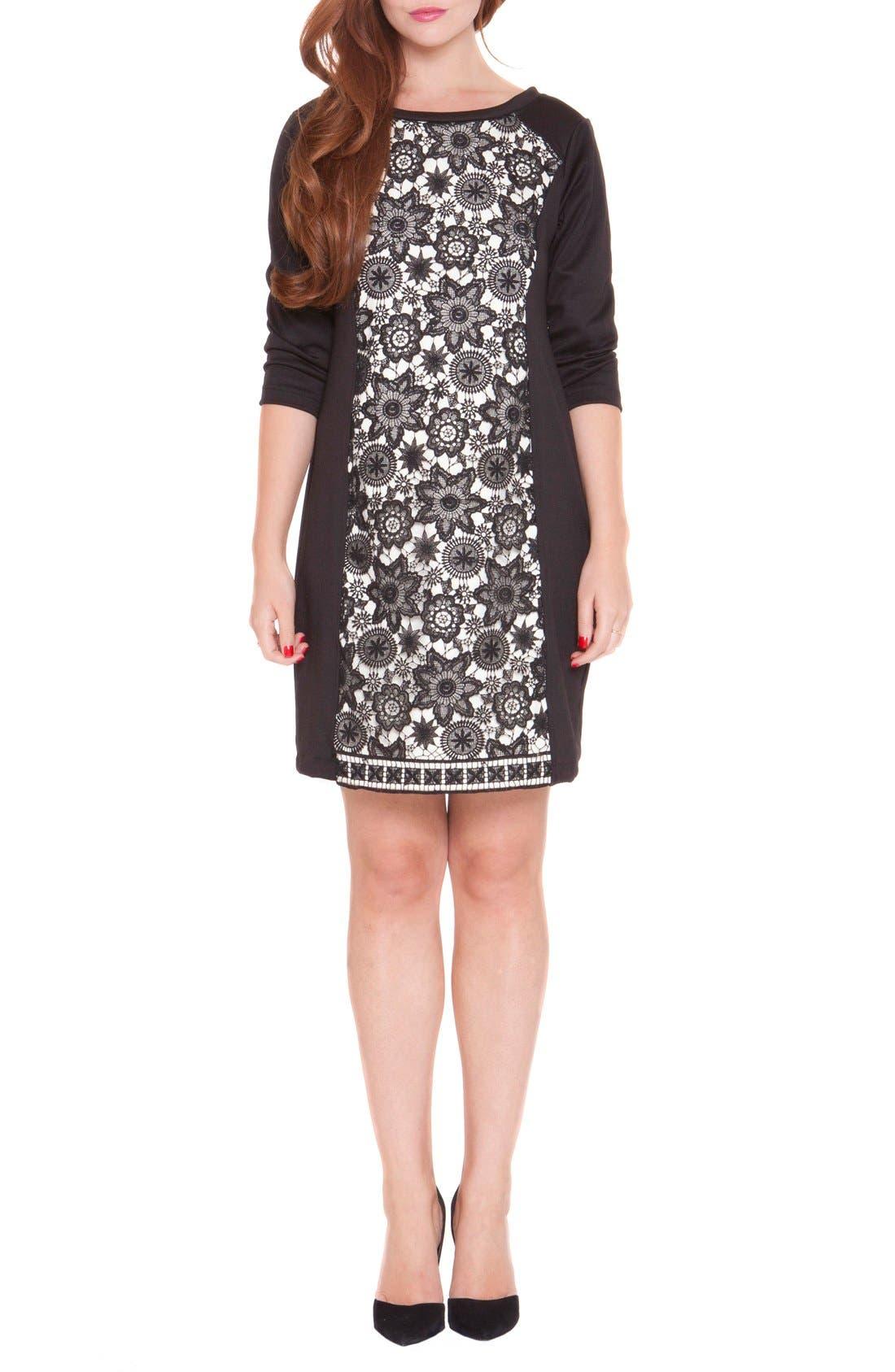 'Eloise' Maternity Shift Dress,                         Main,                         color, Black