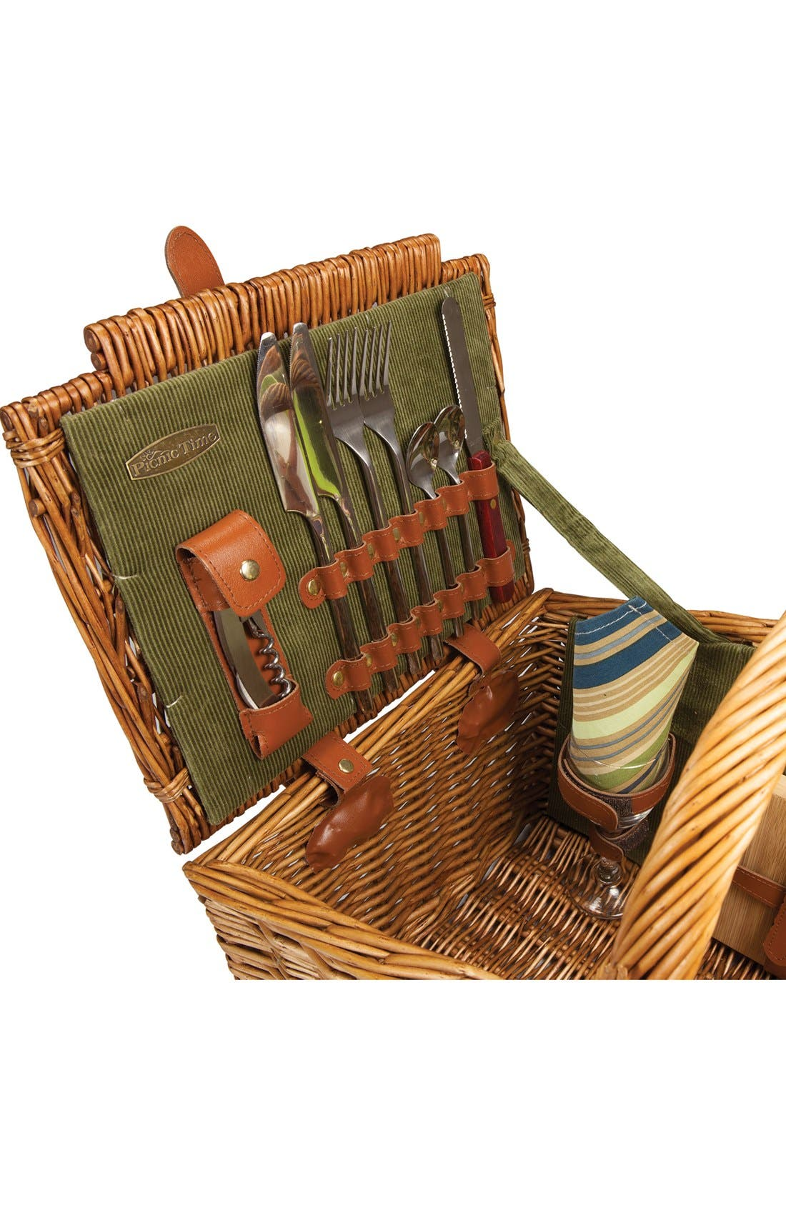 'Somerset' Wicker Picnic Basket,                             Alternate thumbnail 4, color,                             Green